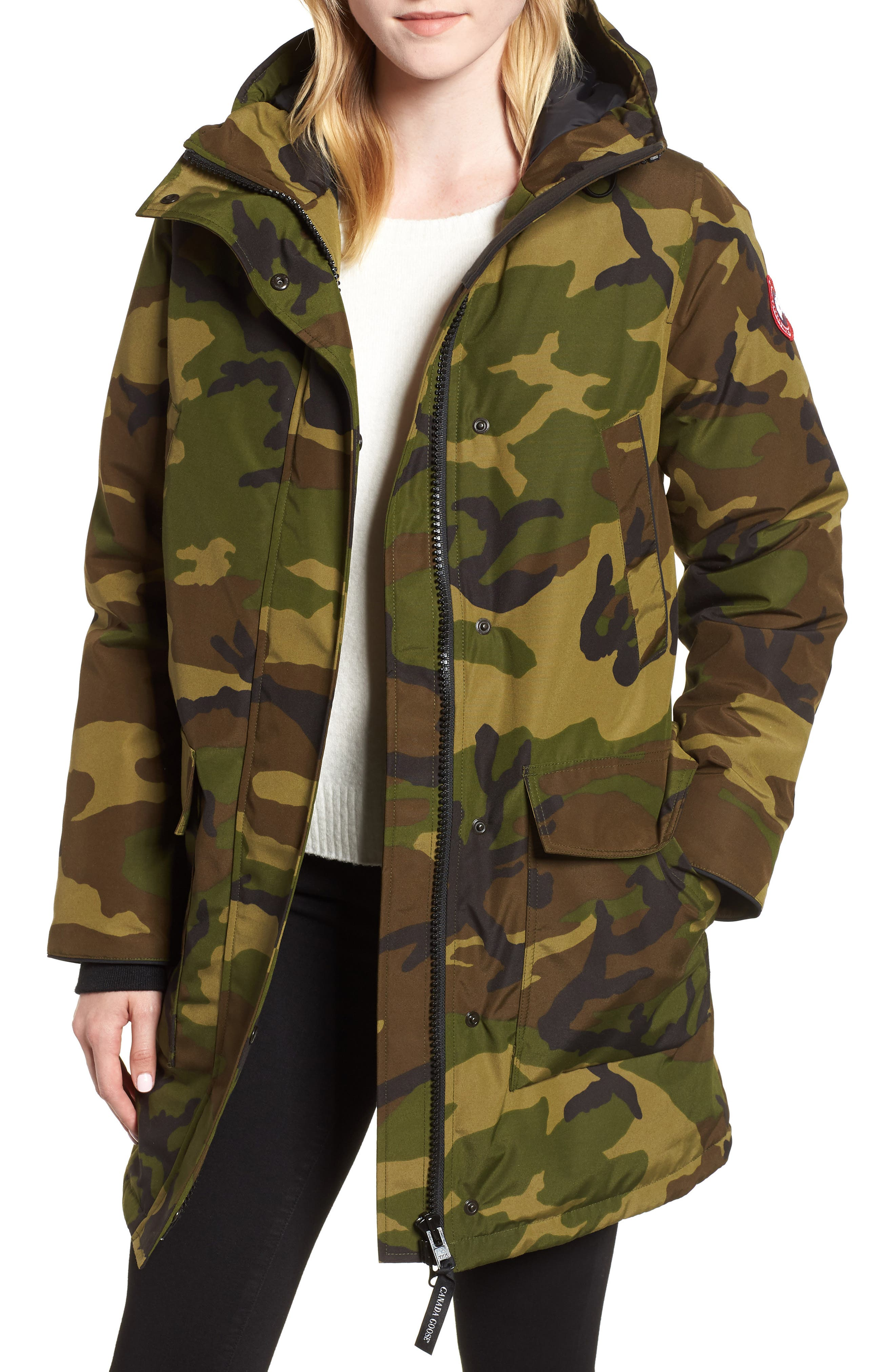 Canmore 625 Fill Power Down Parka,                             Main thumbnail 1, color,                             CLASSIC CAMO