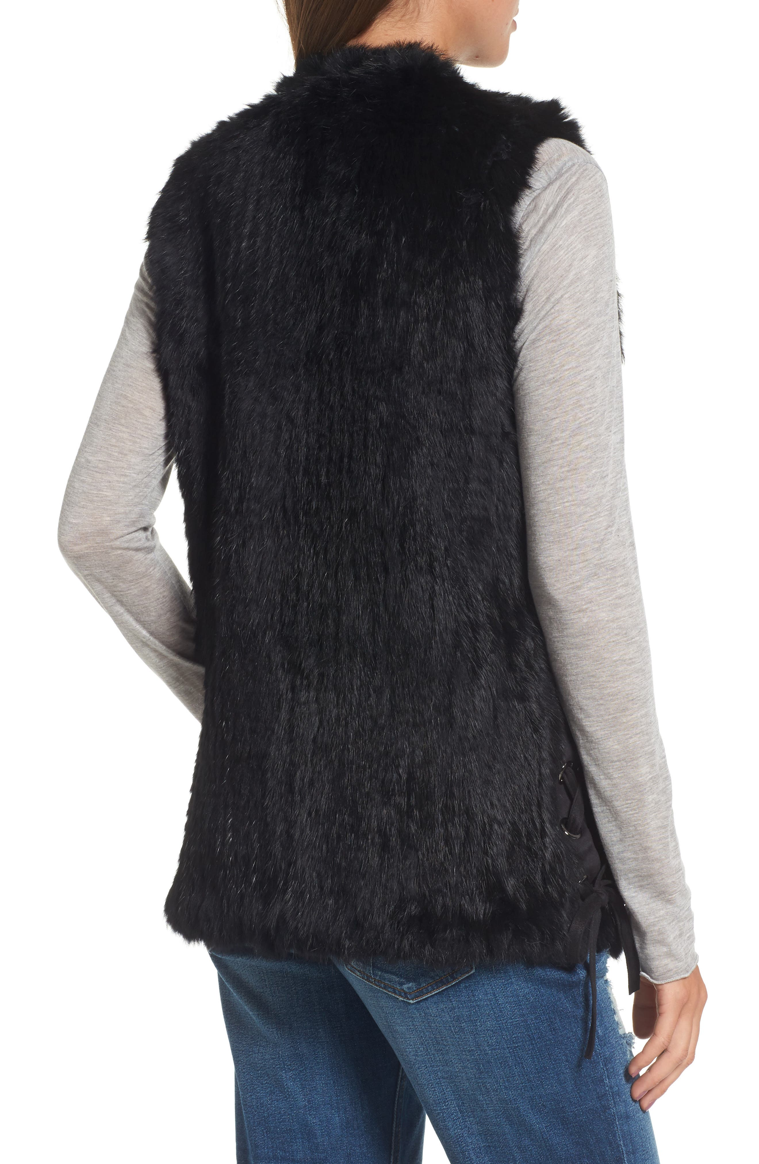Genuine Rabbit Fur Vest,                             Alternate thumbnail 2, color,                             BLACK