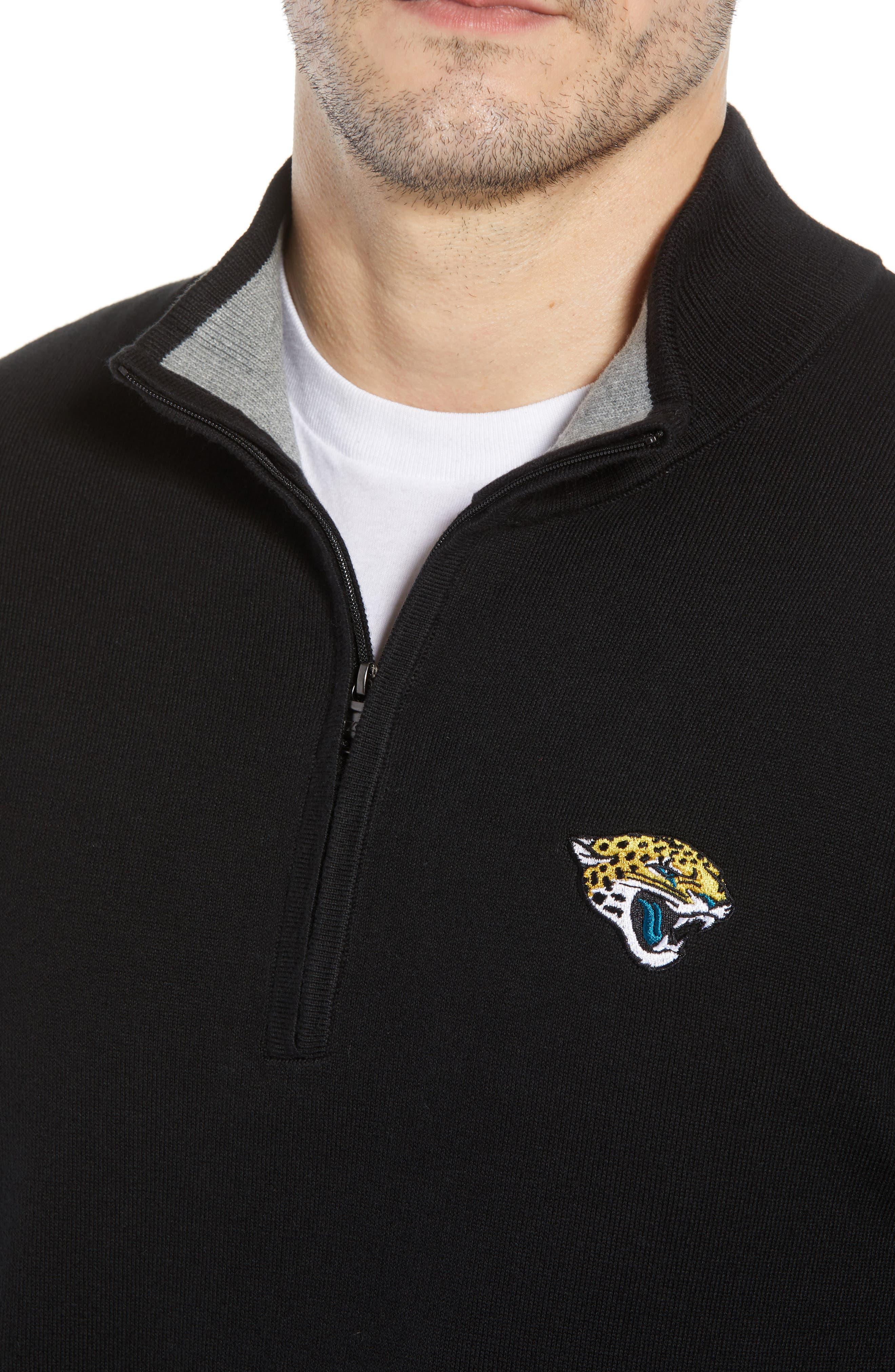 Jacksonville Jaguars - Lakemont Regular Fit Quarter Zip Sweater,                             Alternate thumbnail 4, color,                             BLACK