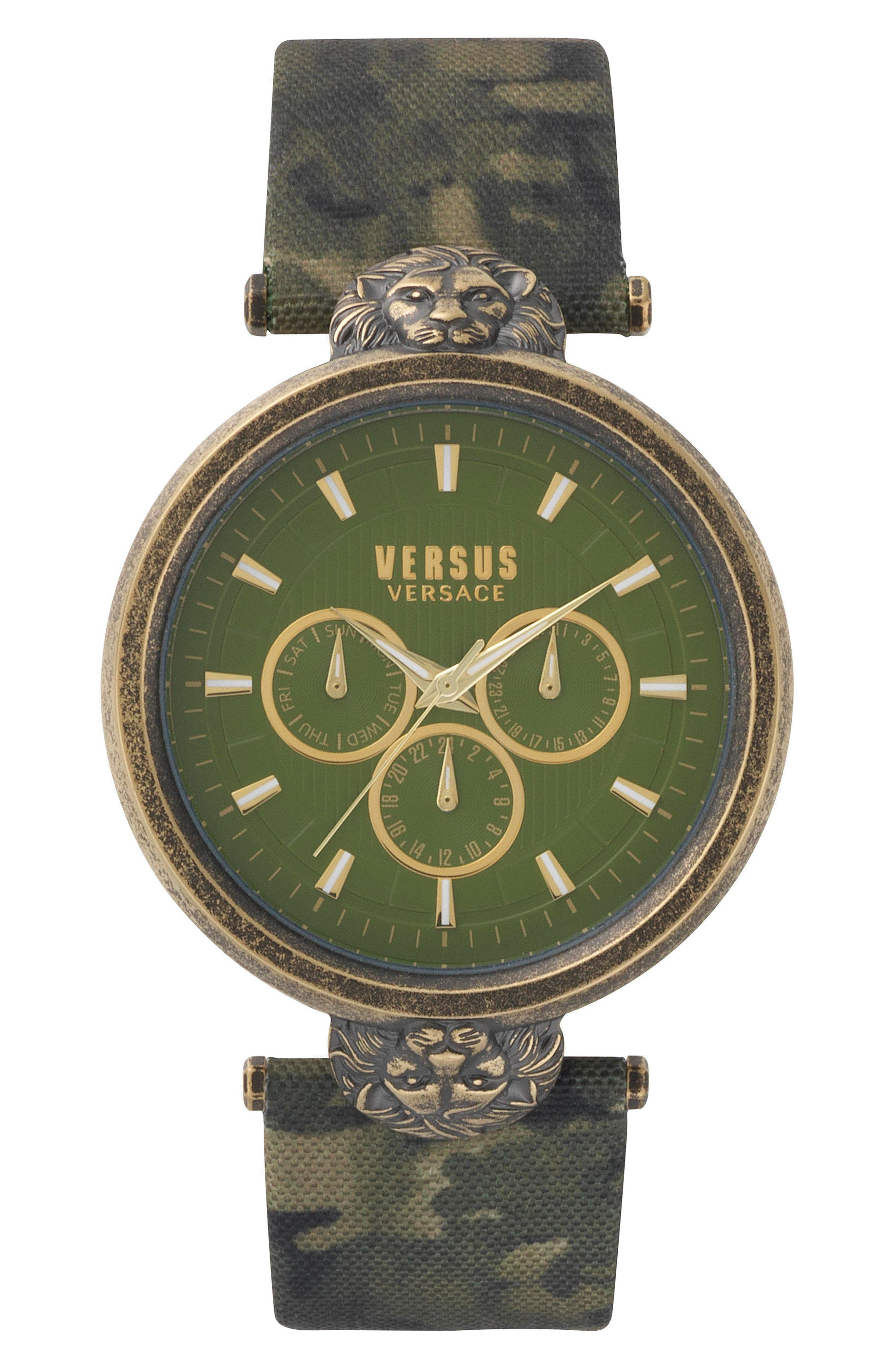 Versus by Versace Victoria Harbour Leather Strap Watch, 44mm,                             Main thumbnail 1, color,                             300