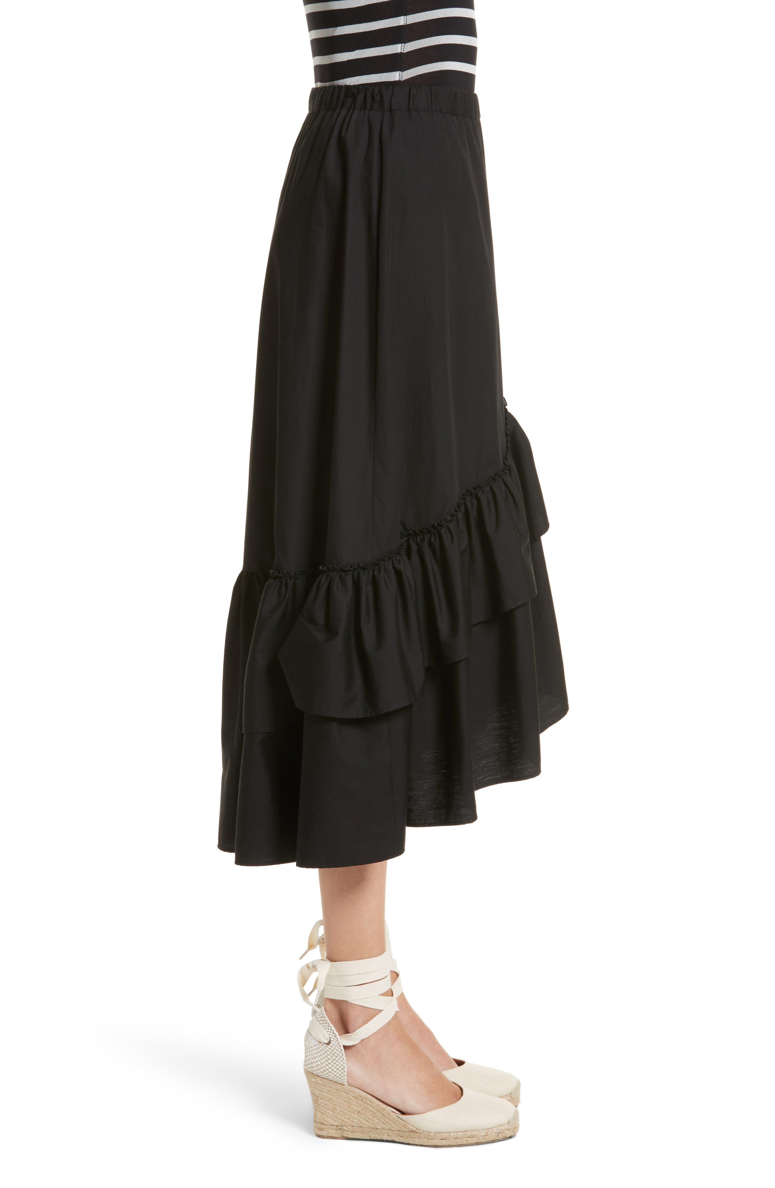 FUZZI,                             Ruffled Poplin Skirt,                             Alternate thumbnail 3, color,                             001