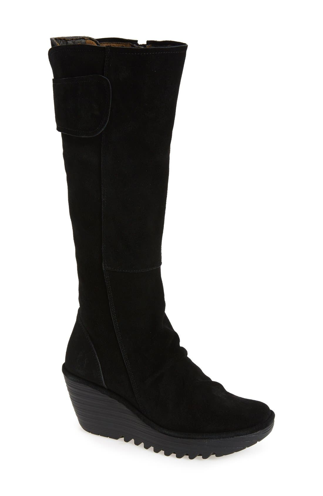 'Yulo' Knee High Wedge Platform Boot,                             Main thumbnail 1, color,                             003