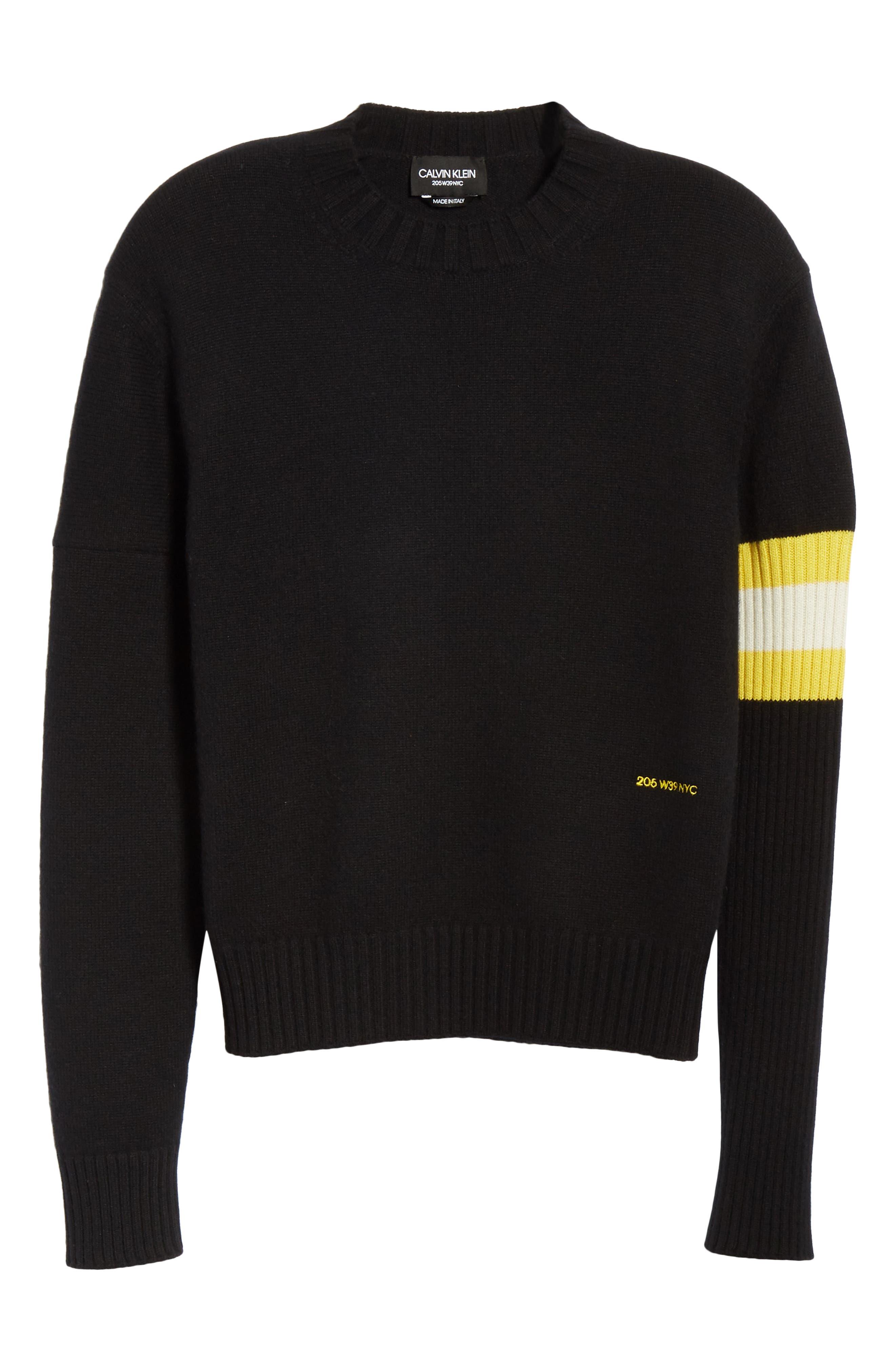 Cashmere Stripe Sleeve Sweater,                             Alternate thumbnail 6, color,                             001