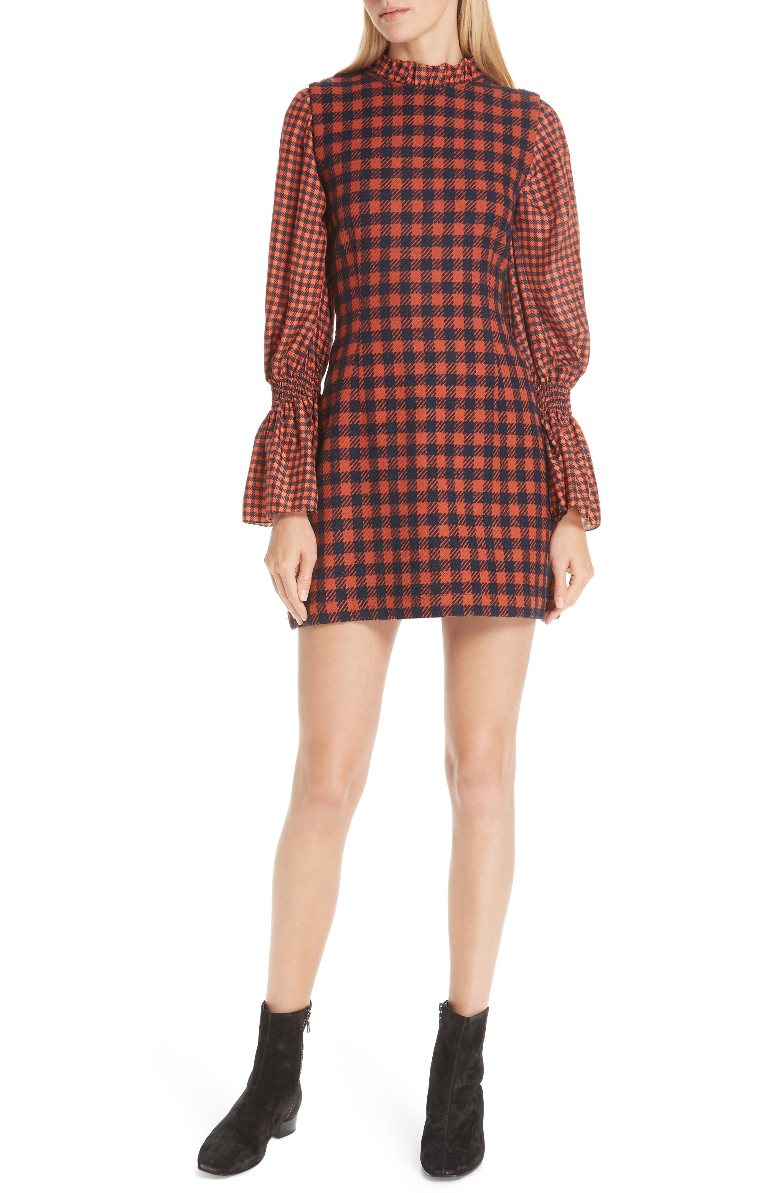 Ethno Pop Checkered Combo Dress,                             Main thumbnail 1, color,                             ORANGE CHECK