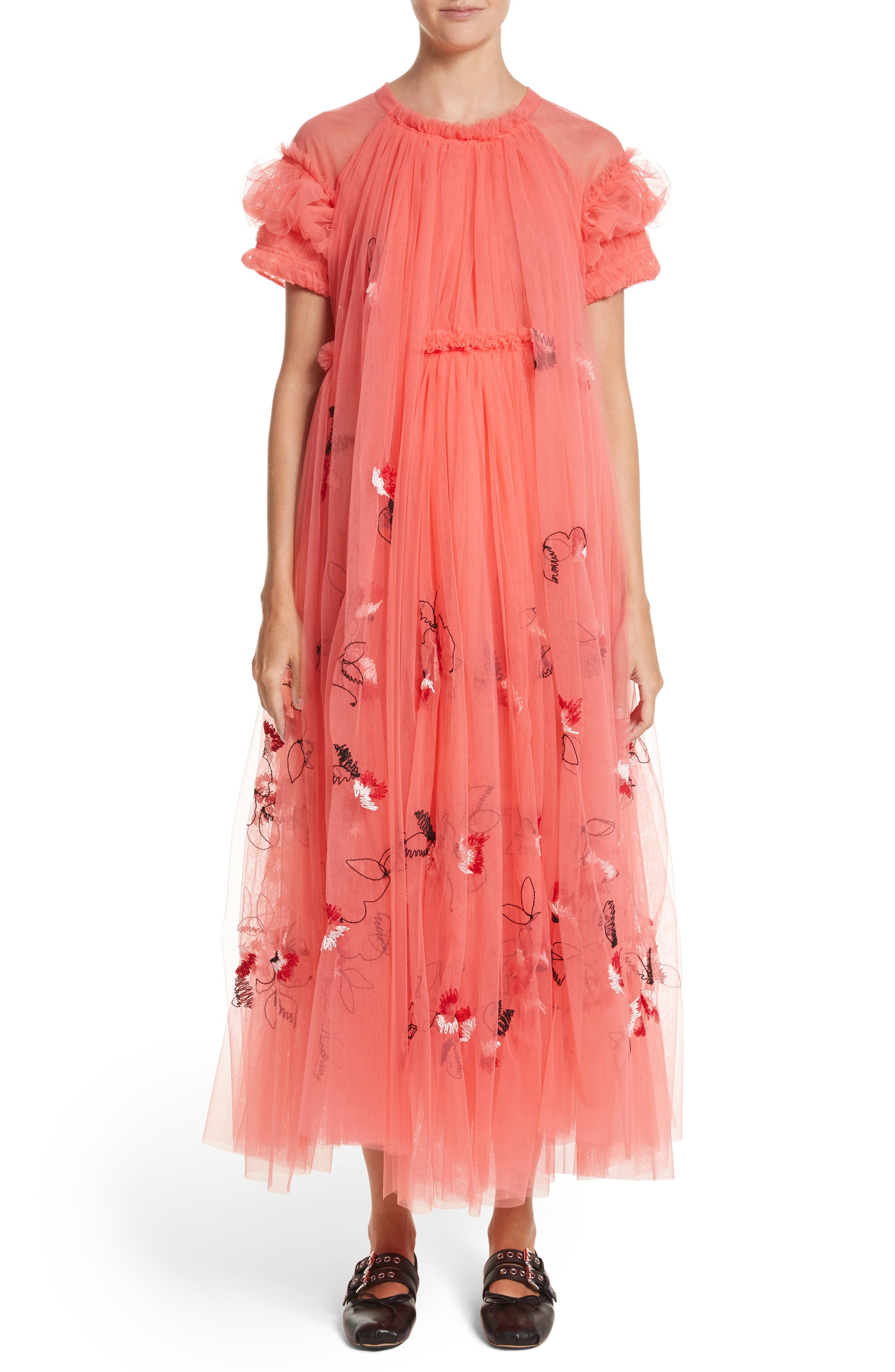 Doris Embroidered Tulle Dress,                             Main thumbnail 1, color,                             950