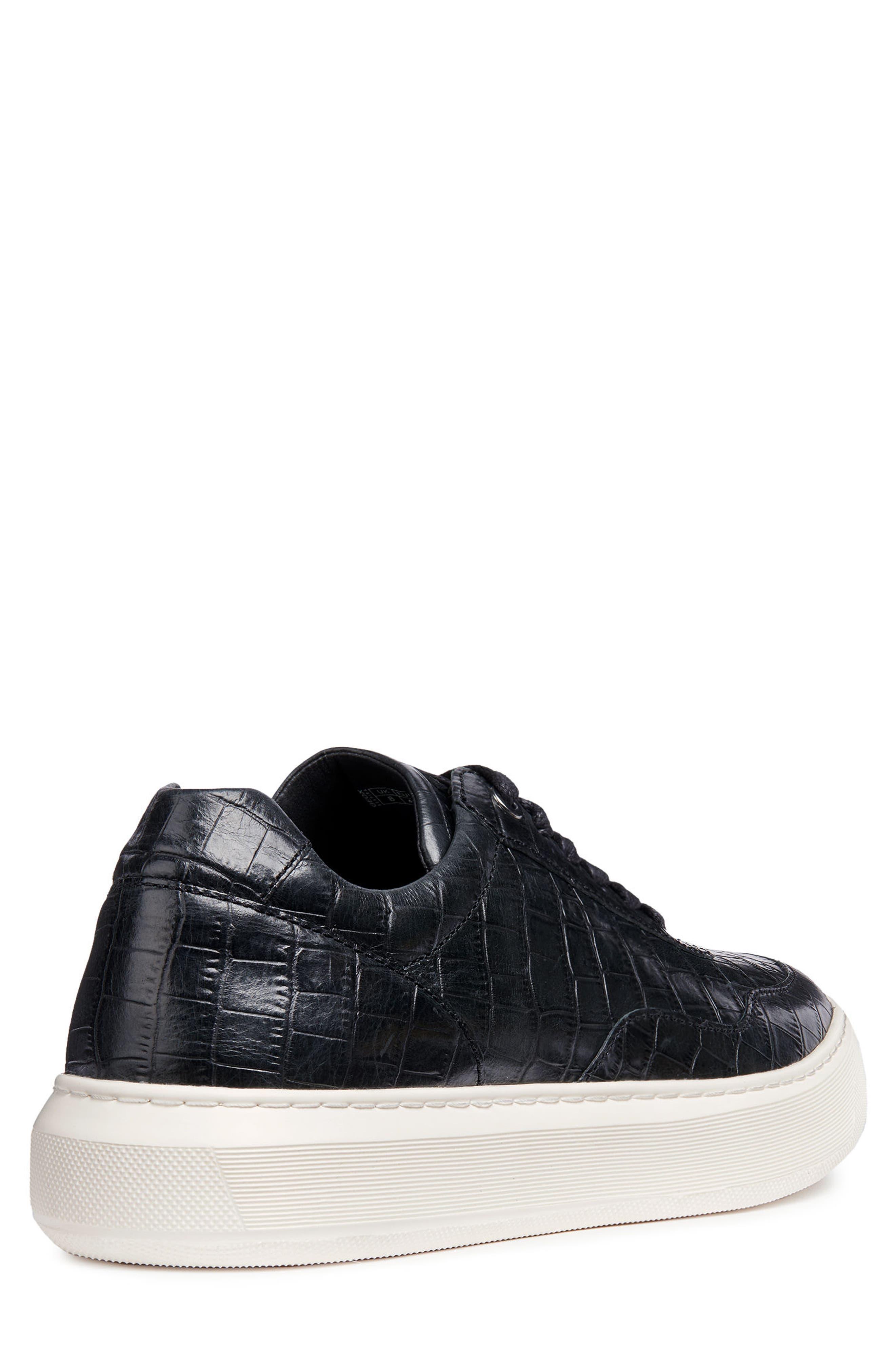 Deiven 8 Croc Textured Low Top Sneaker,                             Alternate thumbnail 2, color,                             BLACK LEATHER
