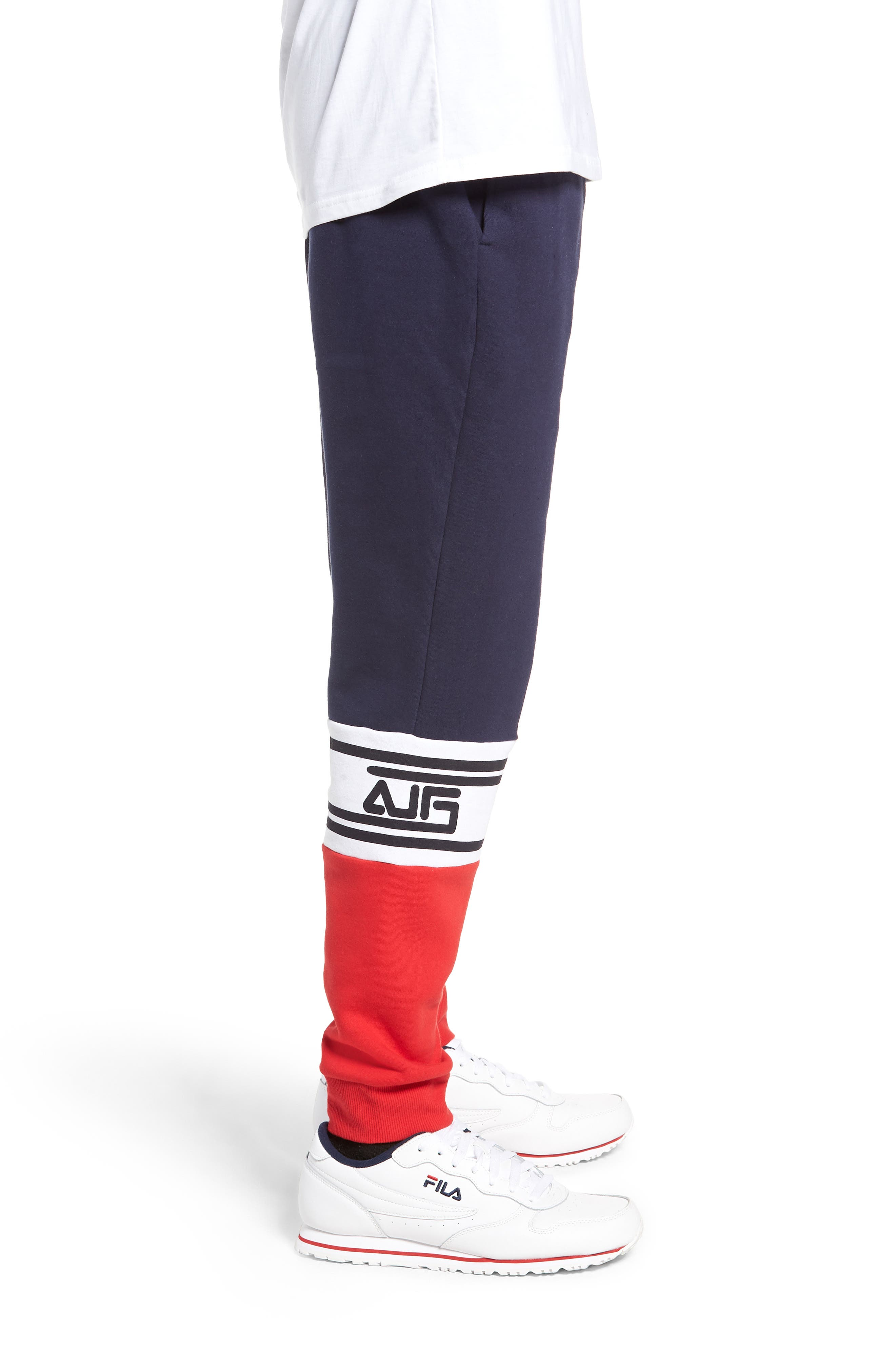 Tricolor Jogger Pants,                             Alternate thumbnail 3, color,                             PEACOAT/ CHINESE RED