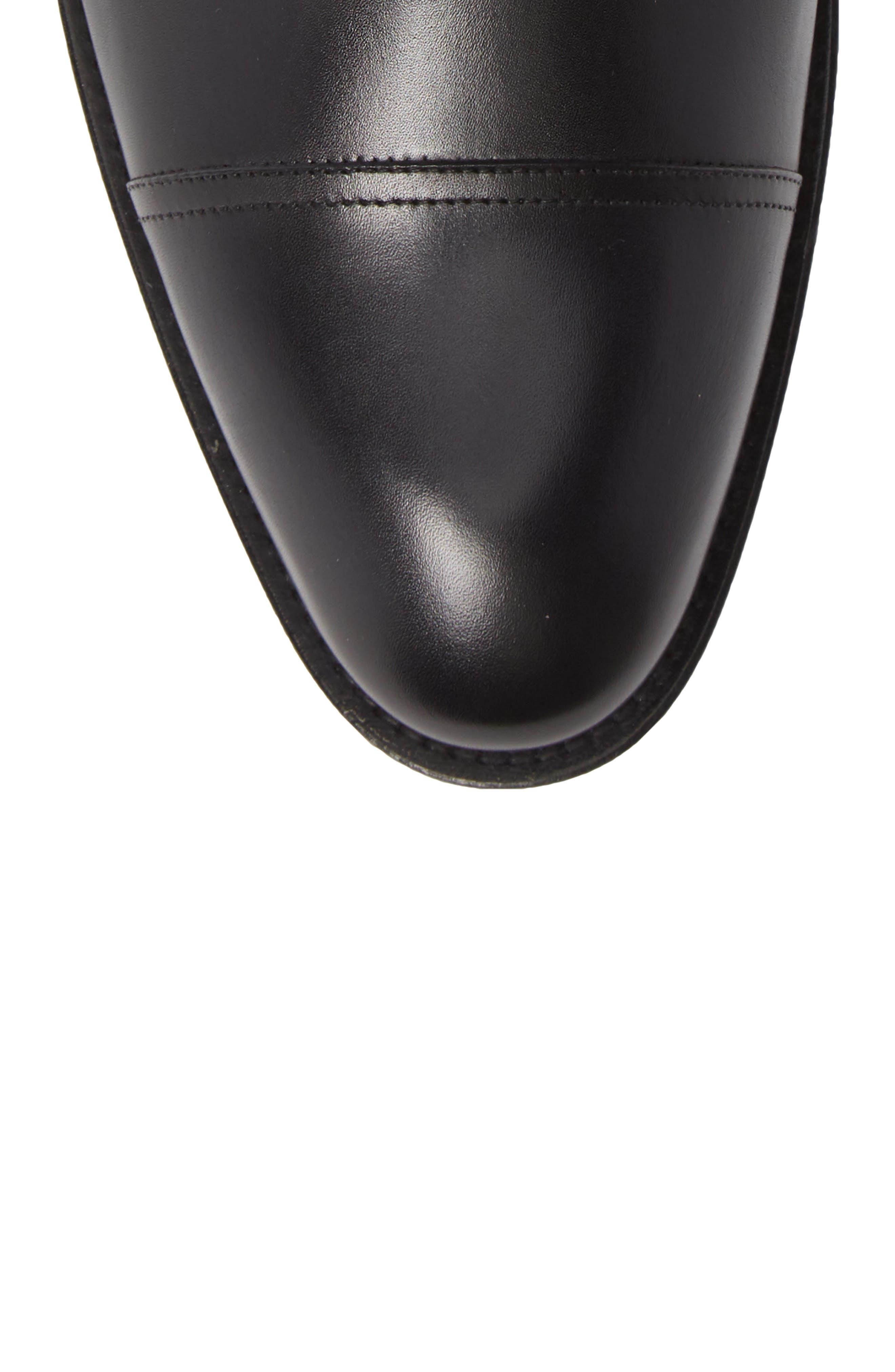Higgins Cap Toe Chelsea Boot,                             Alternate thumbnail 5, color,                             BLACK LEATHER