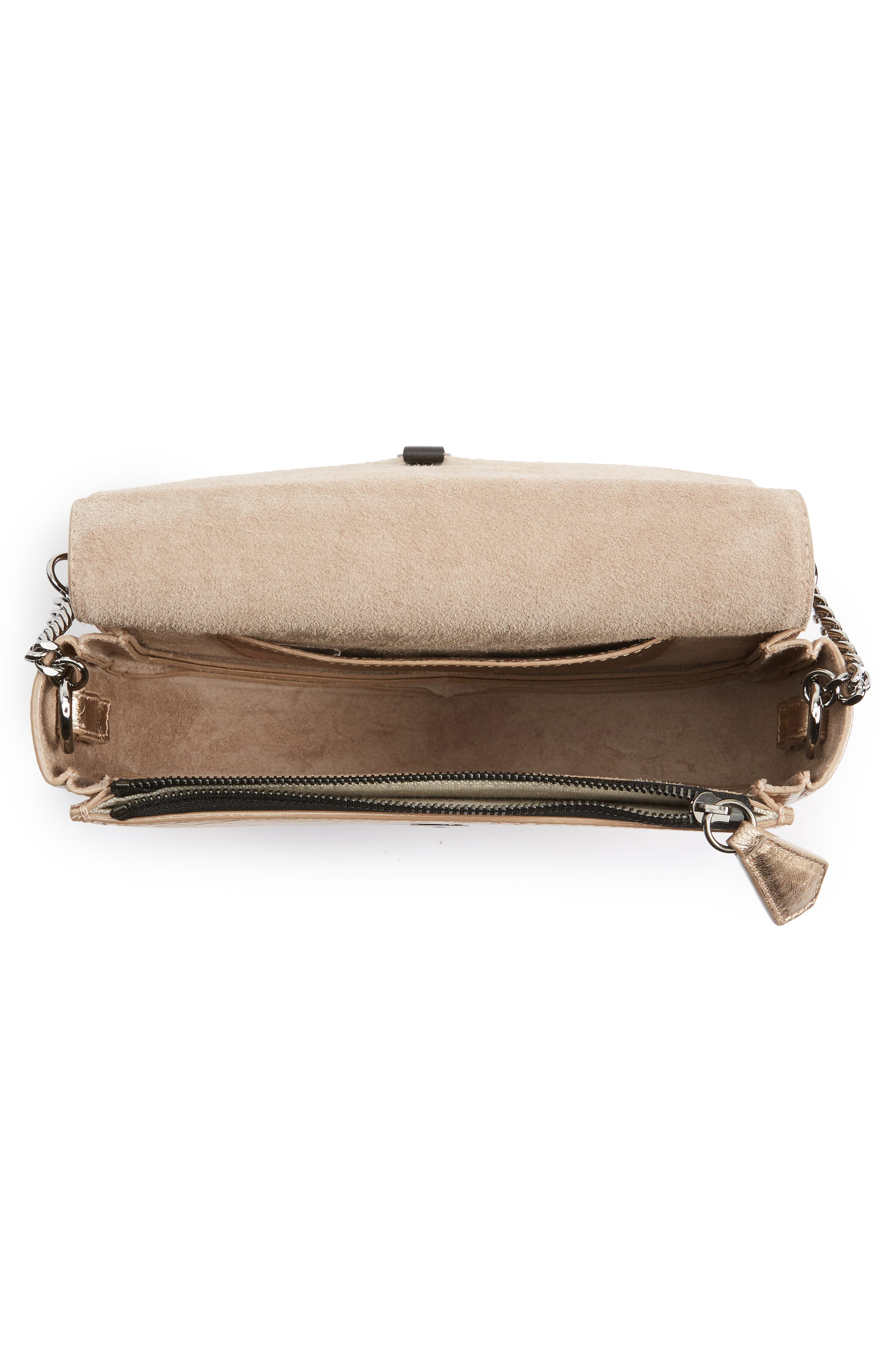 Arrow Metallic Grained Leather Shoulder Bag,                             Alternate thumbnail 12, color,