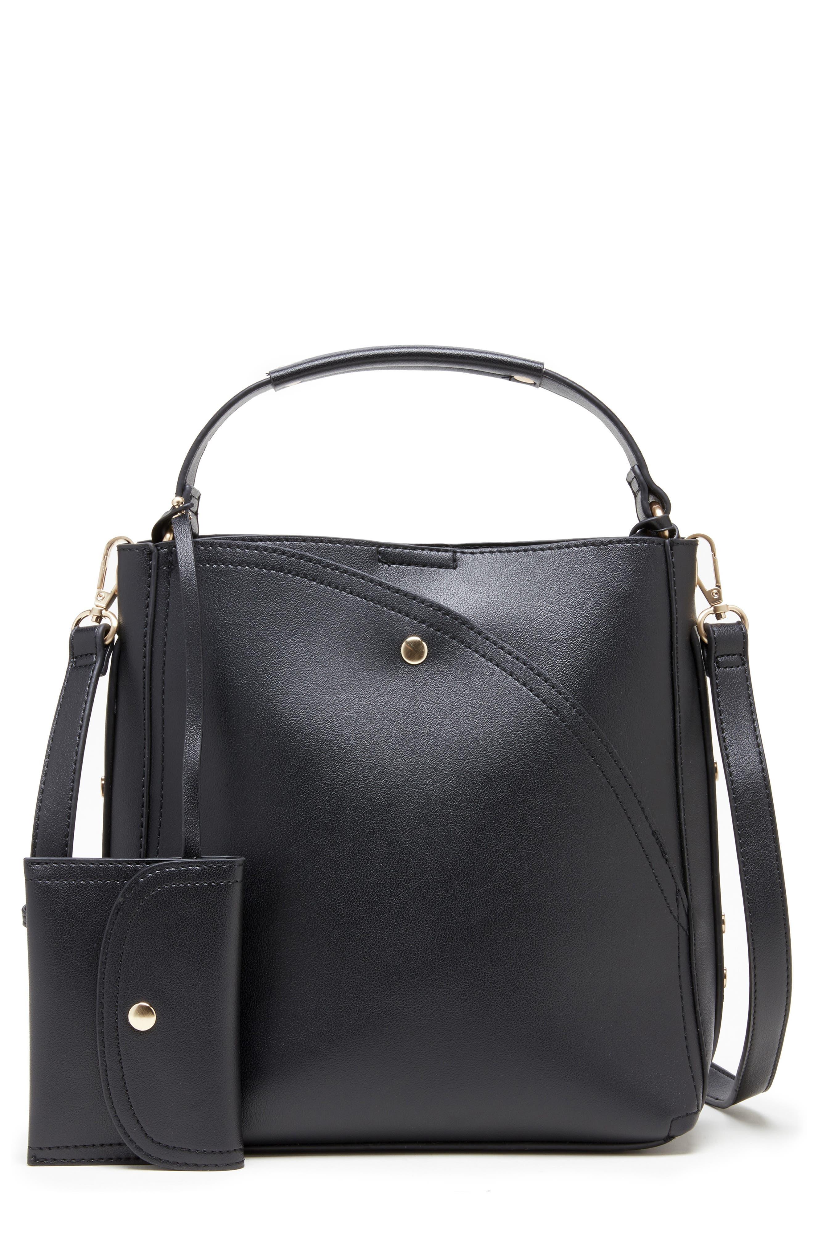 Hingi Faux Leather Shoulder Bag,                             Main thumbnail 1, color,                             BLACK