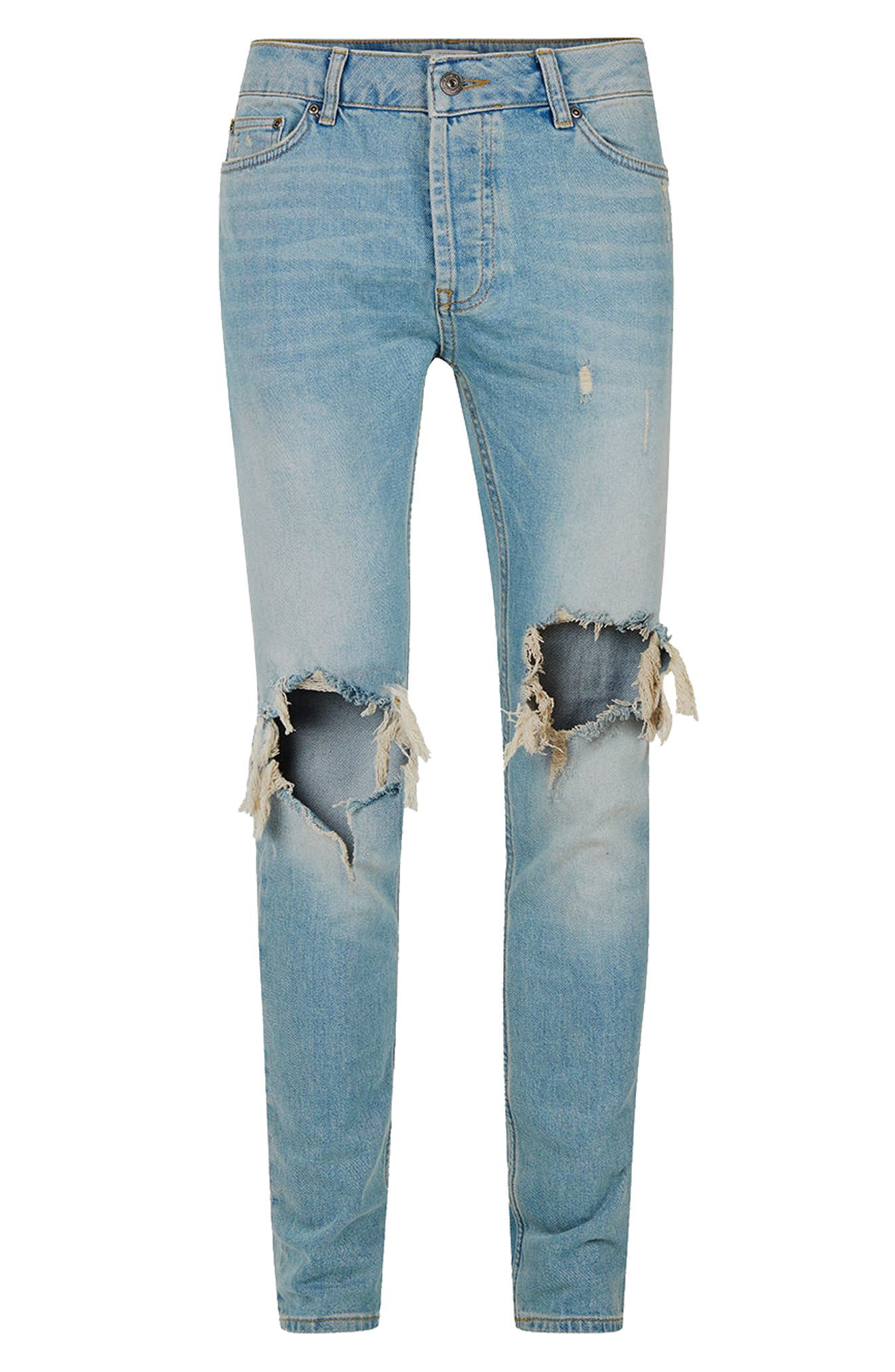 Ripped Stretch Skinny Jeans,                             Alternate thumbnail 6, color,                             LIGHT WASH DENIM
