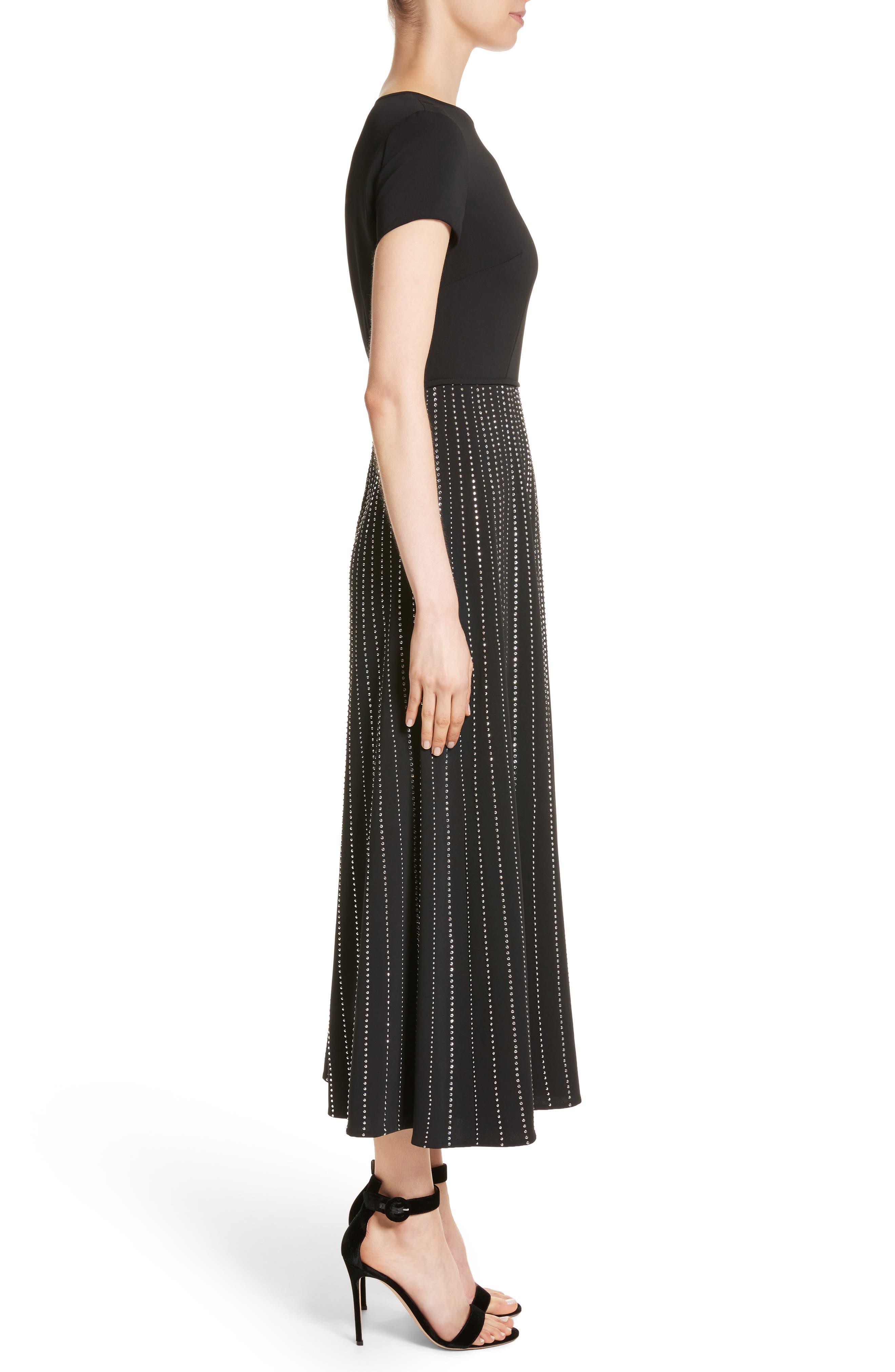 Embellished Stretch Cady Dress,                             Alternate thumbnail 3, color,