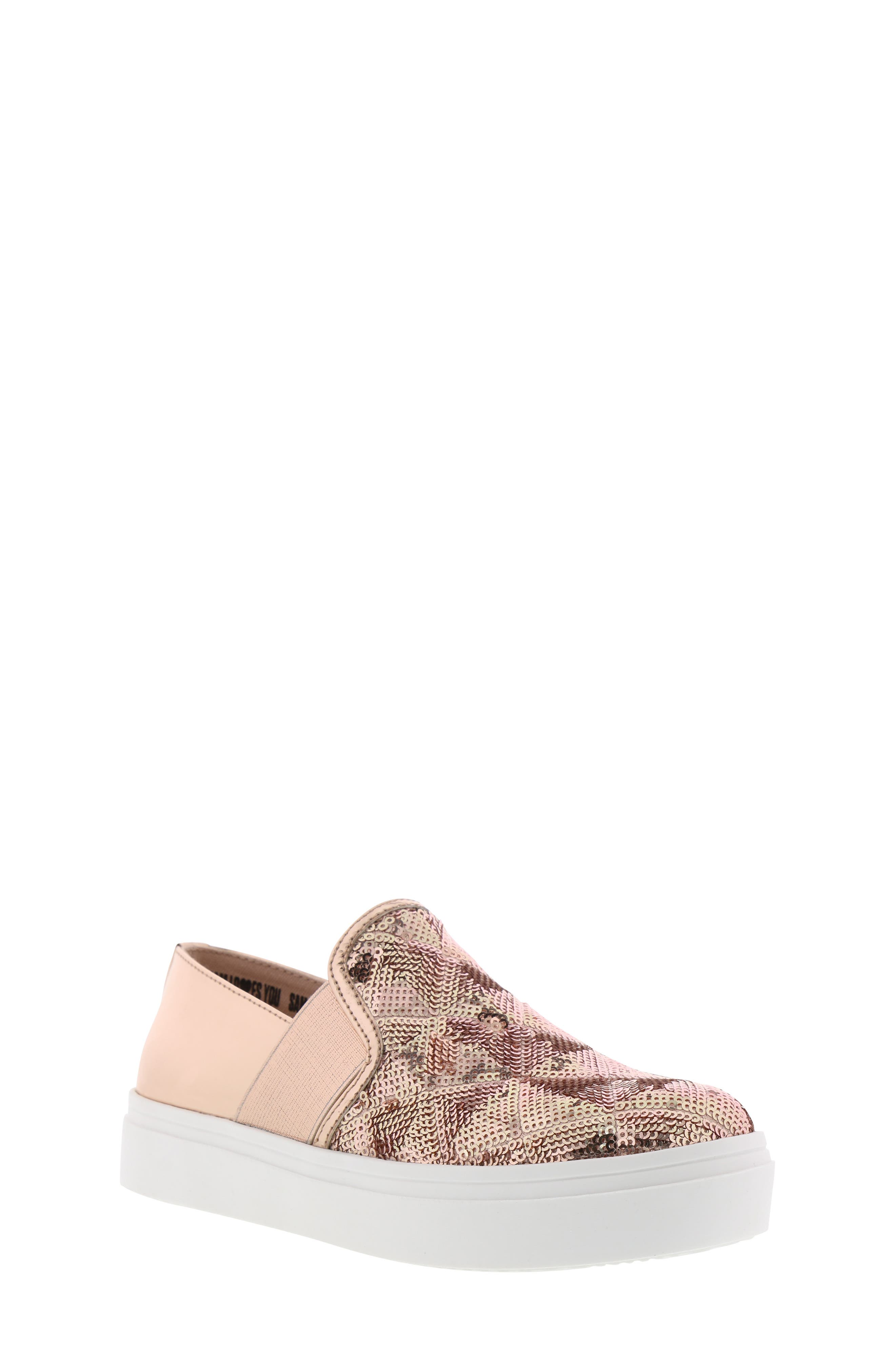 Sheena Pam Sequin Sneaker,                             Main thumbnail 1, color,                             ROSE GOLD