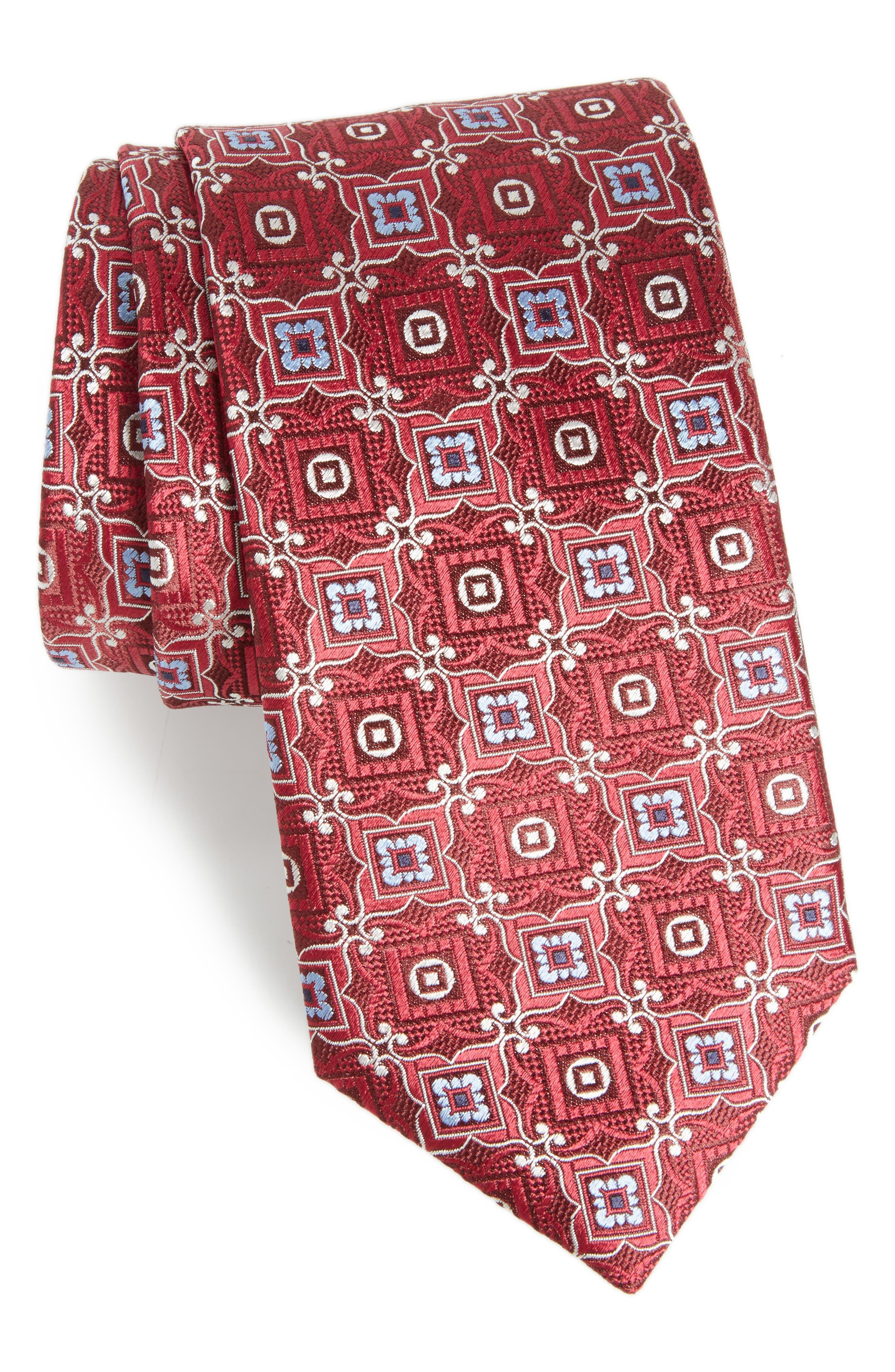 Medallion Silk Tie,                         Main,                         color, 620
