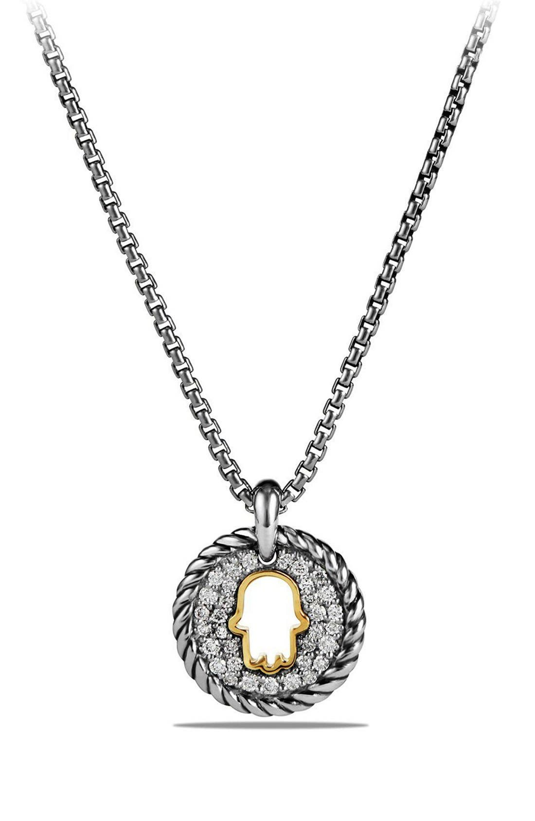 'Cable Collectibles' Hamsa Charm Necklace with Diamonds & 18K Gold,                         Main,                         color, SILVER