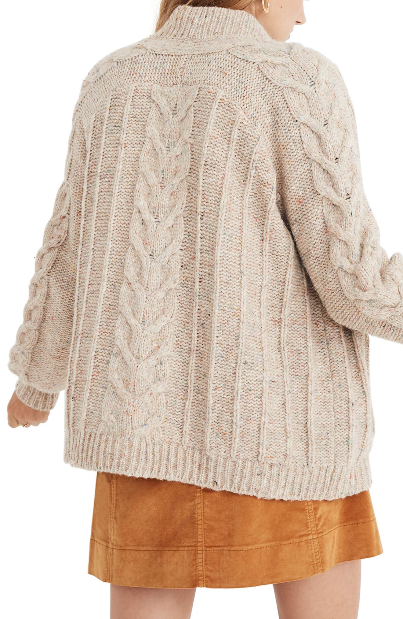 Bubble Sleeve Cable Knit Cardigan Sweater,                             Alternate thumbnail 2, color,                             DONEGAL FUNFETTI