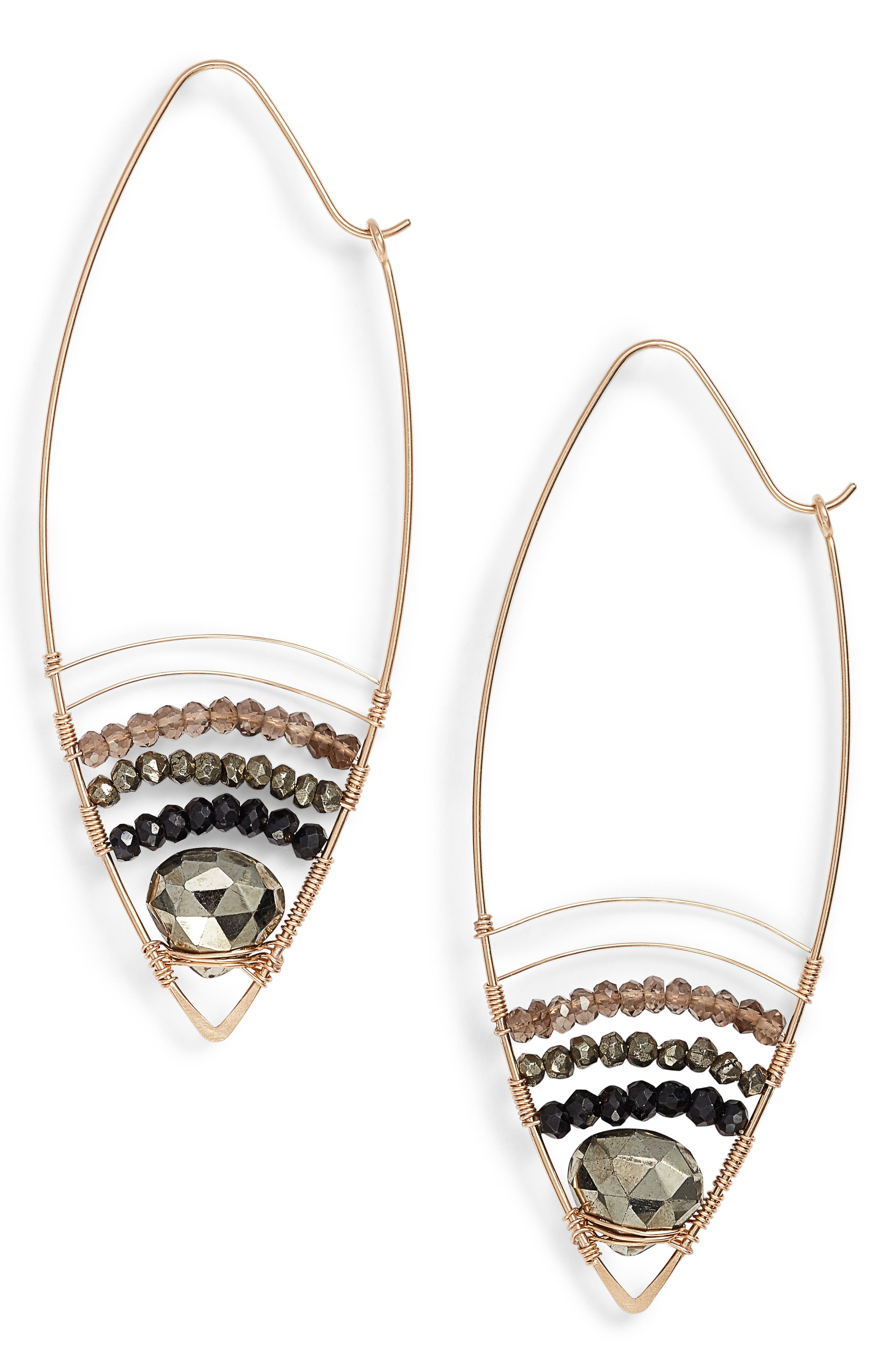 NASHELLE Cabana Golden Sand Oblong Hoop Earrings, Main, color, 001