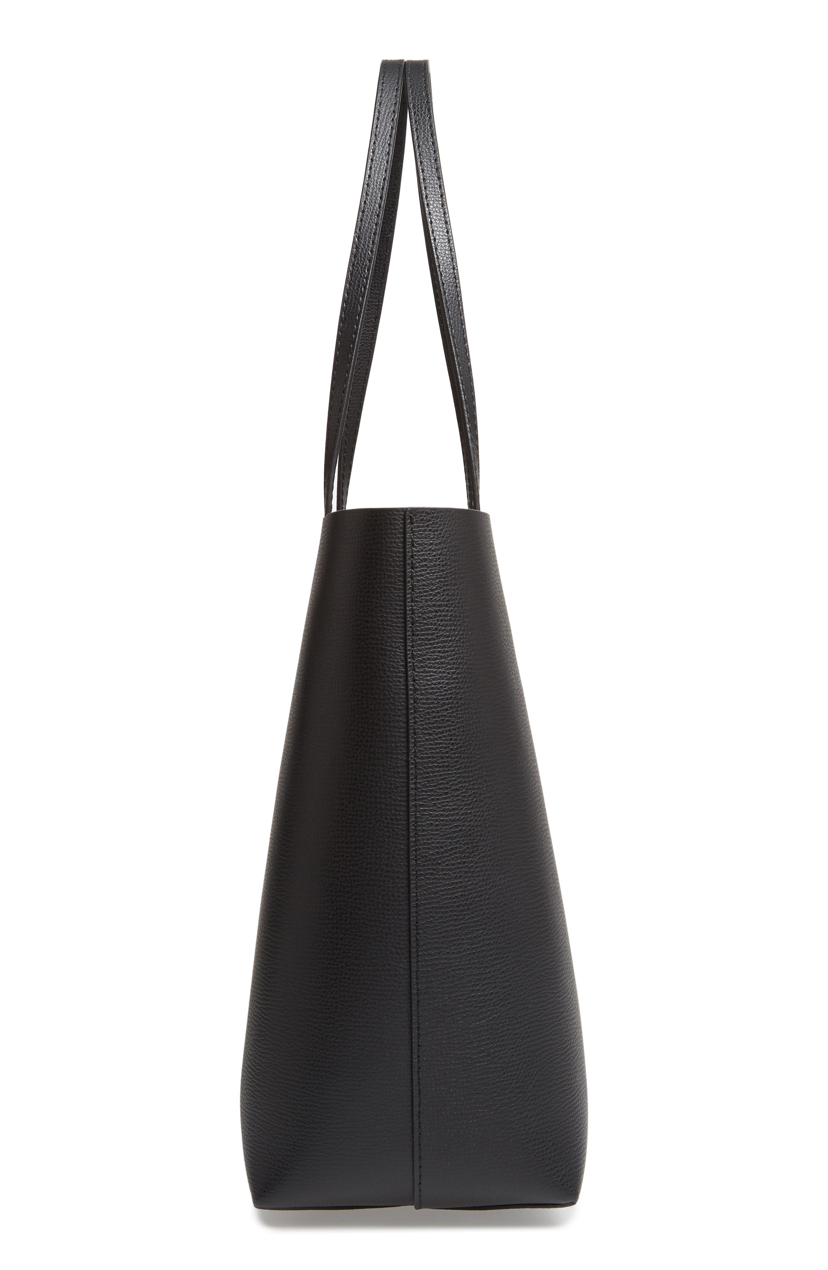 large molly leather tote,                             Alternate thumbnail 5, color,                             BLACK