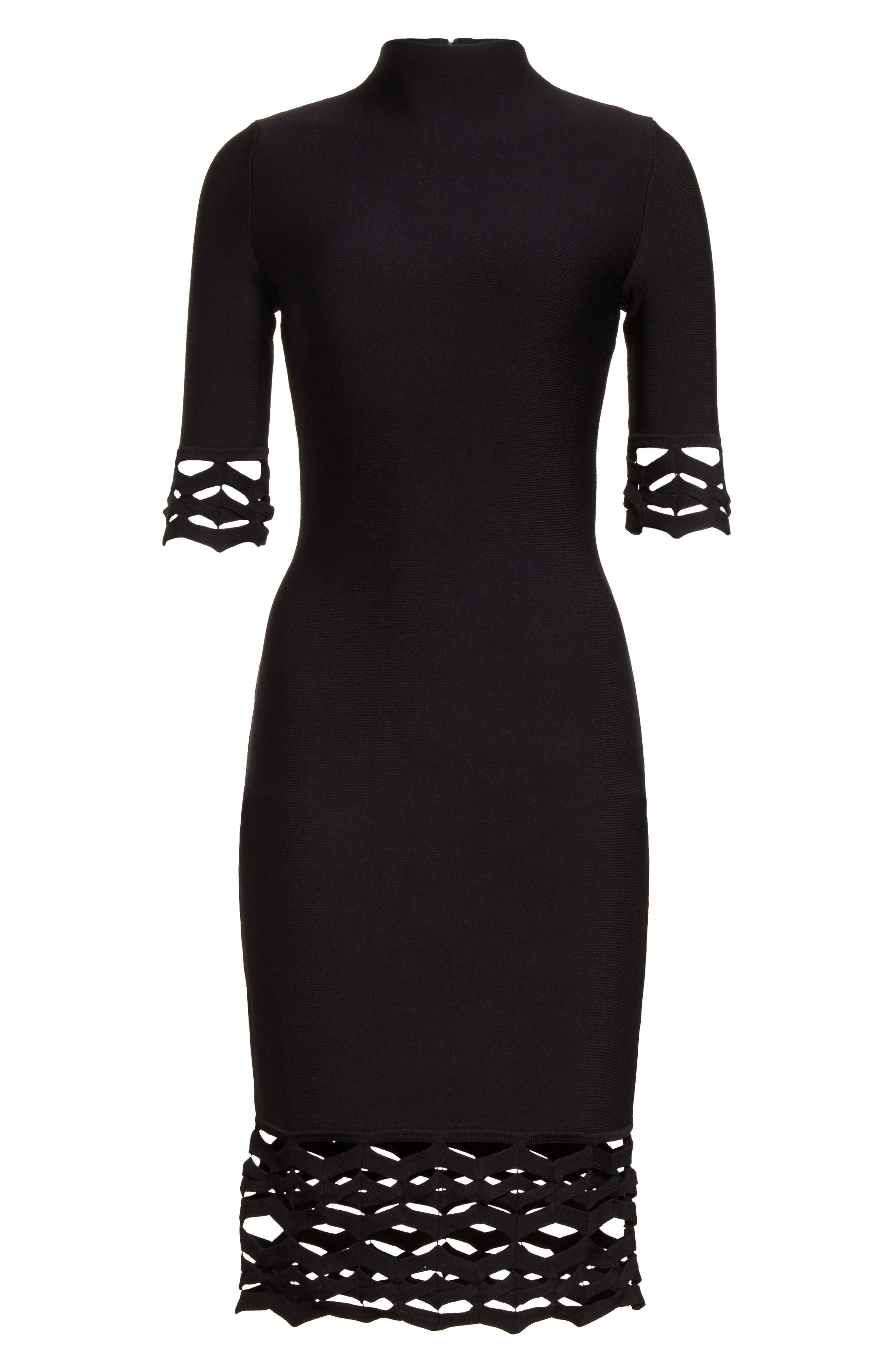 Cutout Detail Sheath Dress,                             Alternate thumbnail 6, color,                             001