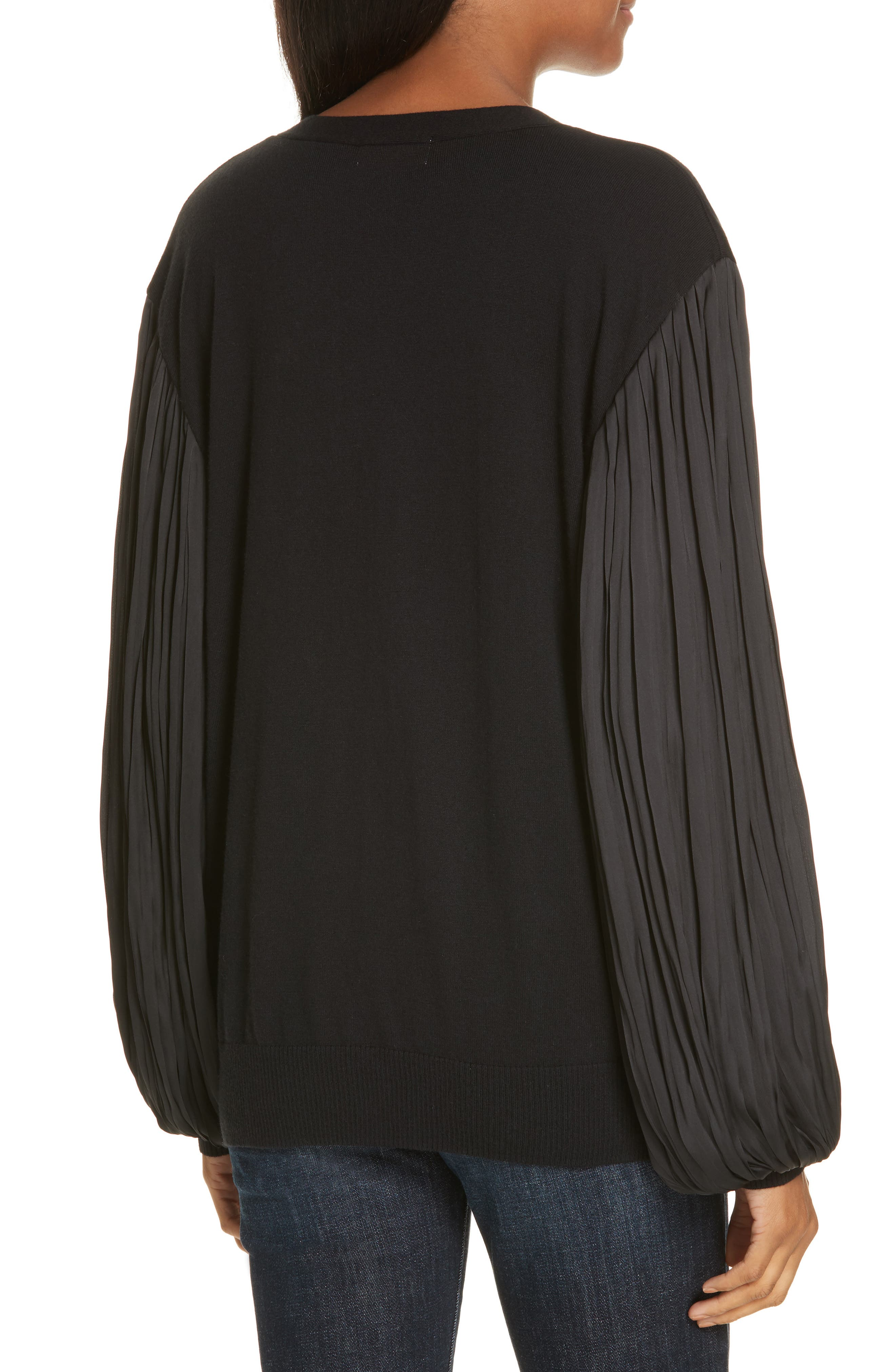 Pleated Balloon Sleeve Cotton Cashmere Cardigan,                             Alternate thumbnail 2, color,                             BLACK