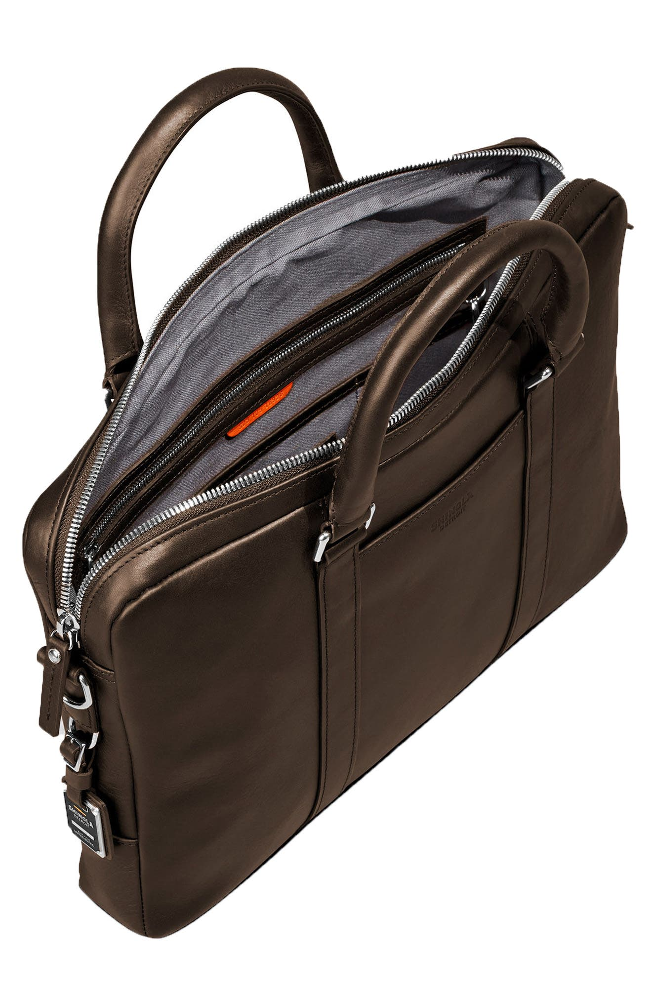 SHINOLA,                             Signature Leather Computer Briefcase,                             Alternate thumbnail 3, color,                             DEEP BROWN