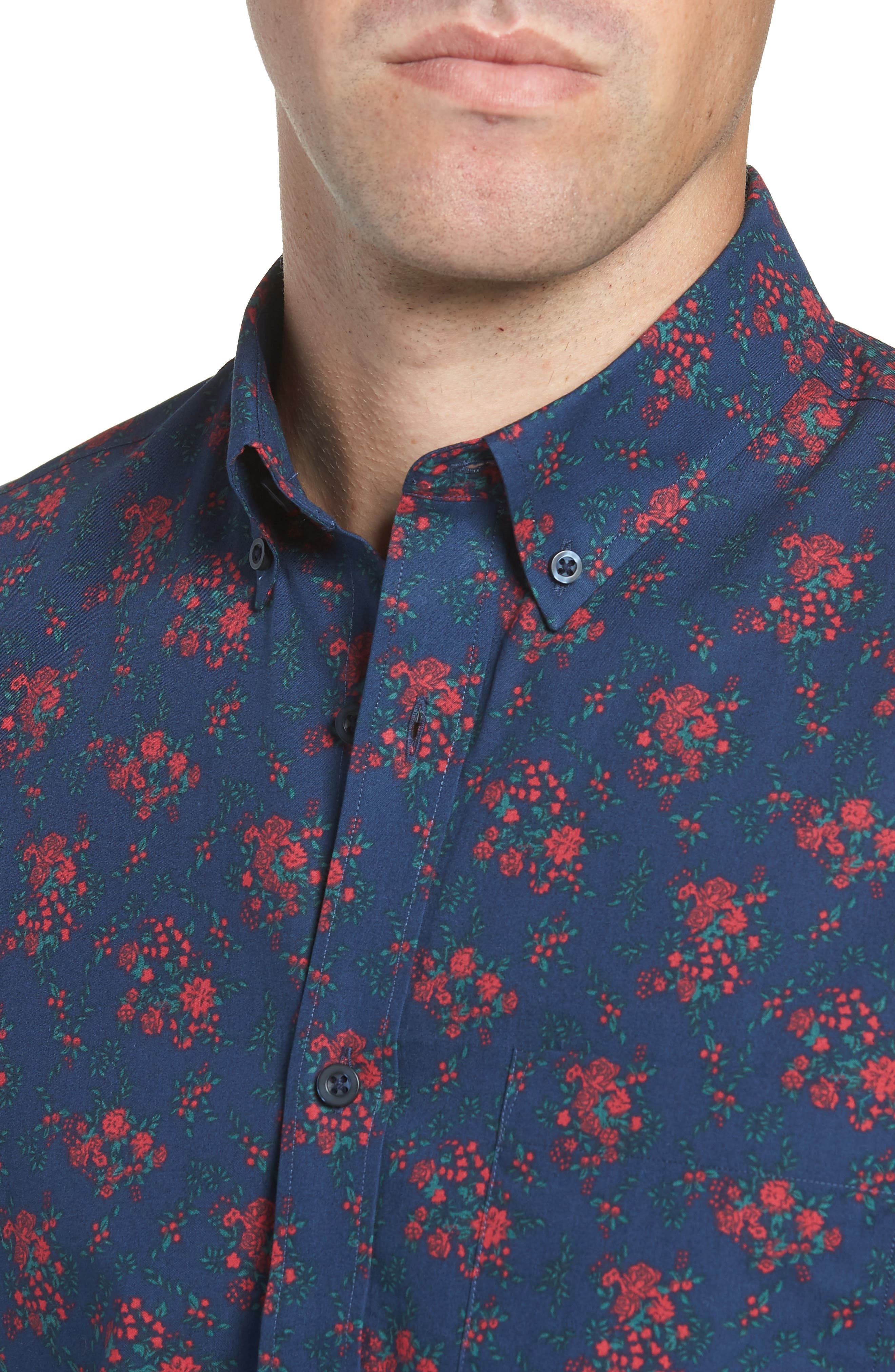 Slim Fit Print No-Iron Sport Shirt,                             Alternate thumbnail 2, color,                             NAVY NIGHT RED FLORAL