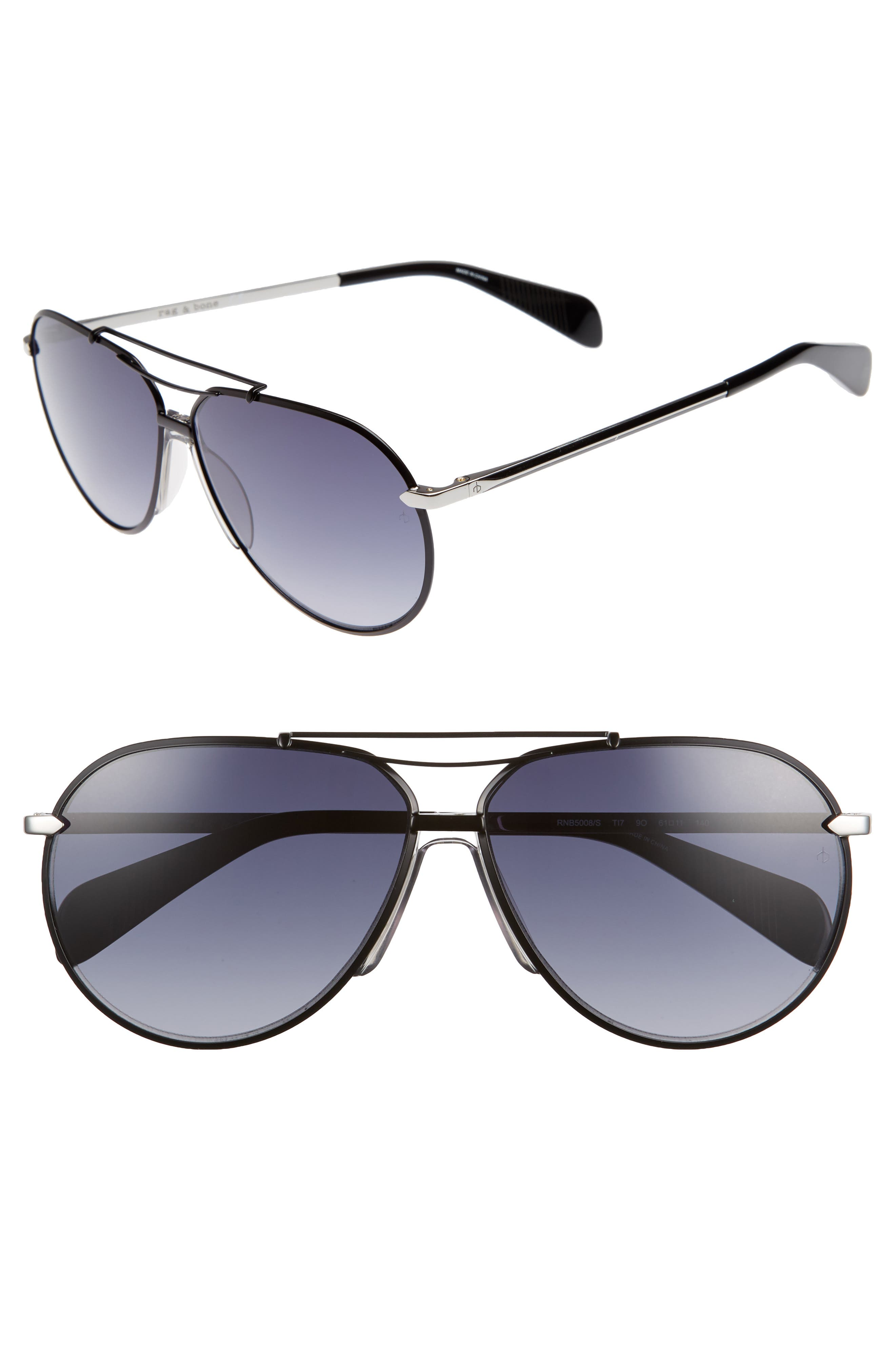 61mm Aviator Gradient Sunglasses,                             Main thumbnail 1, color,                             RUTHENIUM/ MATTE BLACK