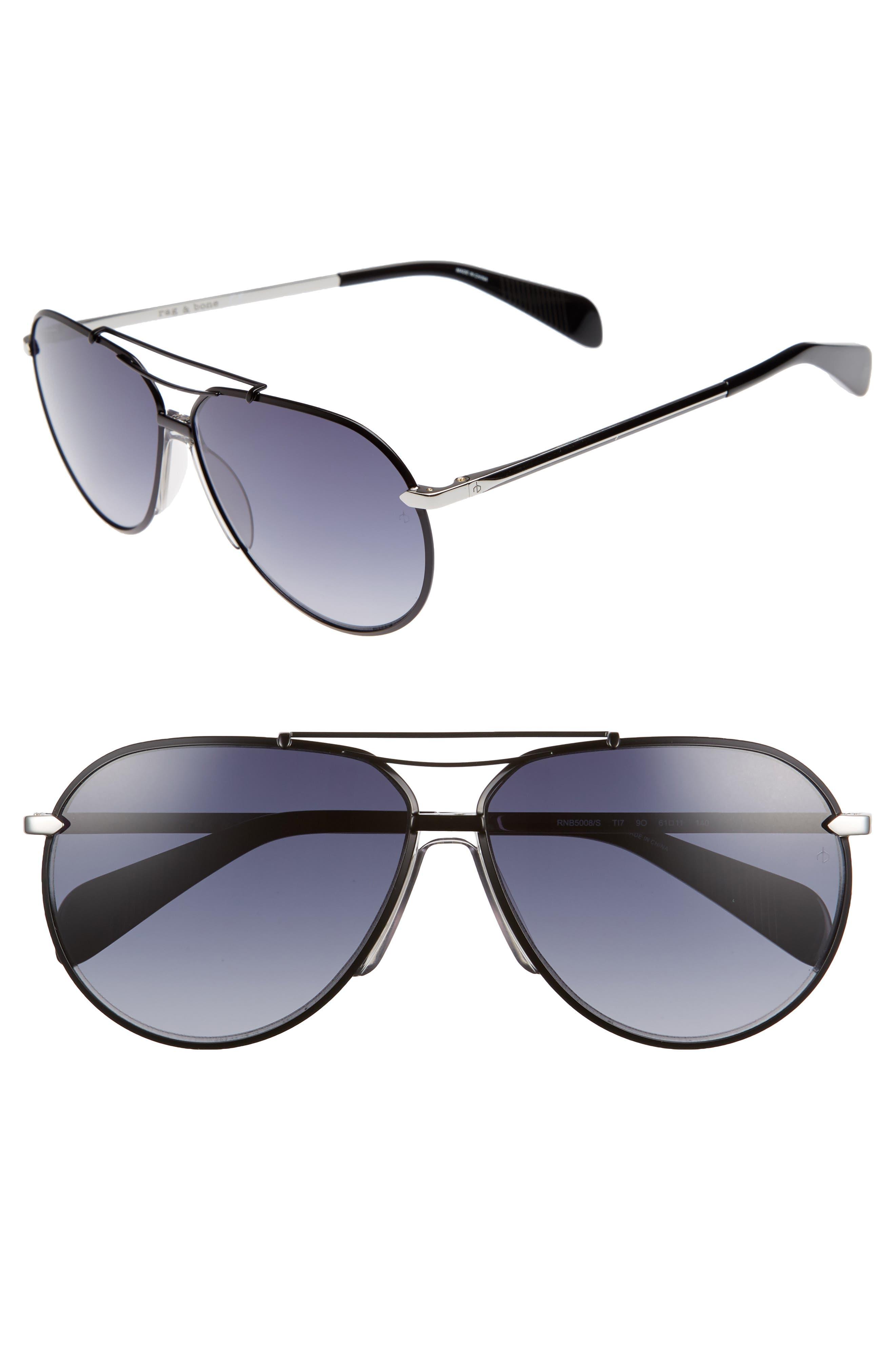 61mm Aviator Gradient Sunglasses,                         Main,                         color, RUTHENIUM/ MATTE BLACK