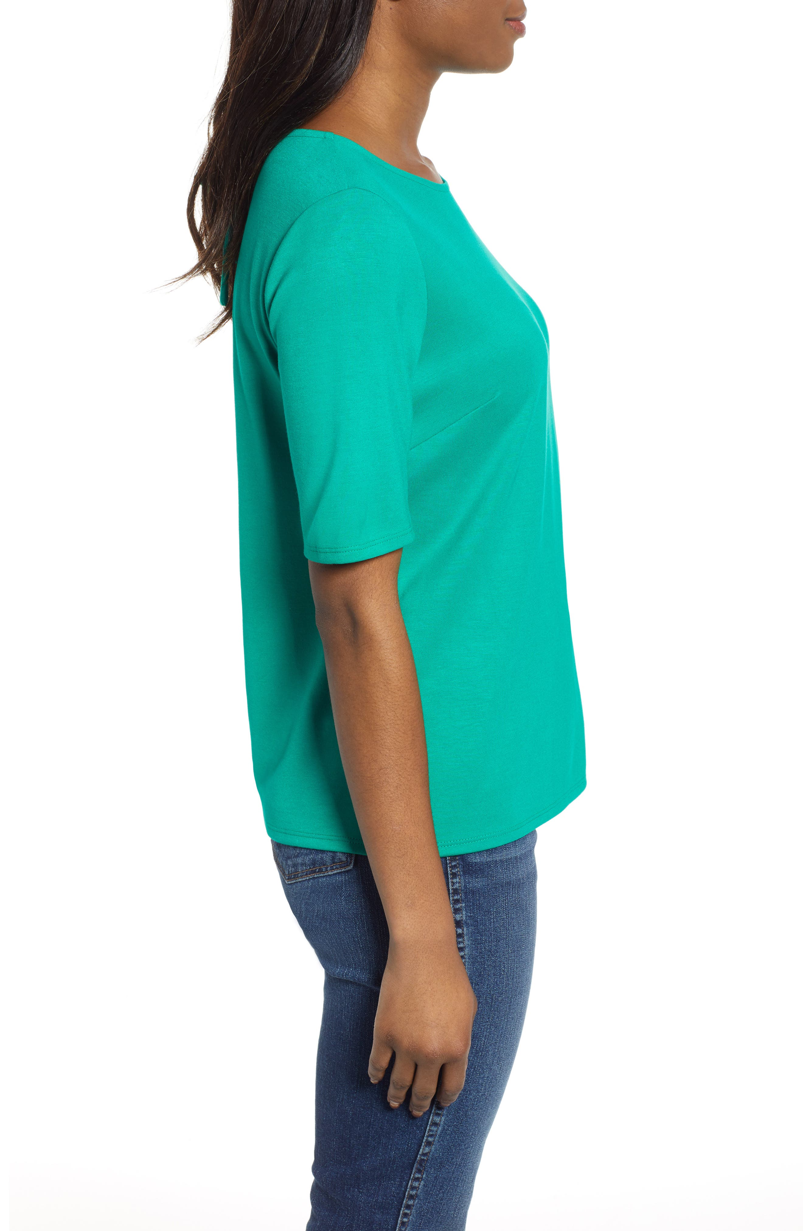 GIBSON,                             x International Women's Day Thamarr Keyhole Tie Back Ponte Top,                             Alternate thumbnail 3, color,                             GREEN