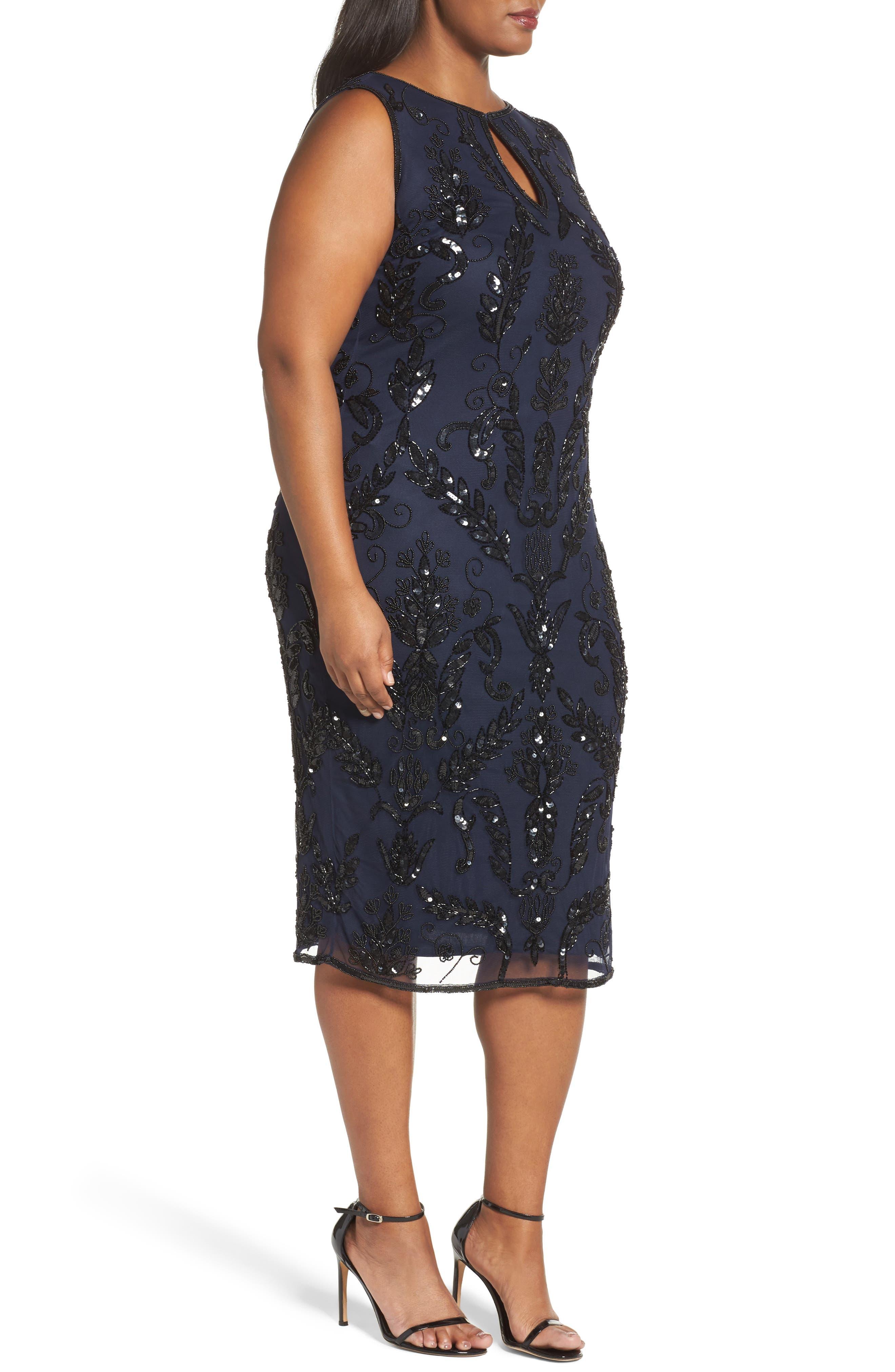 Embellished Tea Length Sheath Dress,                             Alternate thumbnail 3, color,                             415