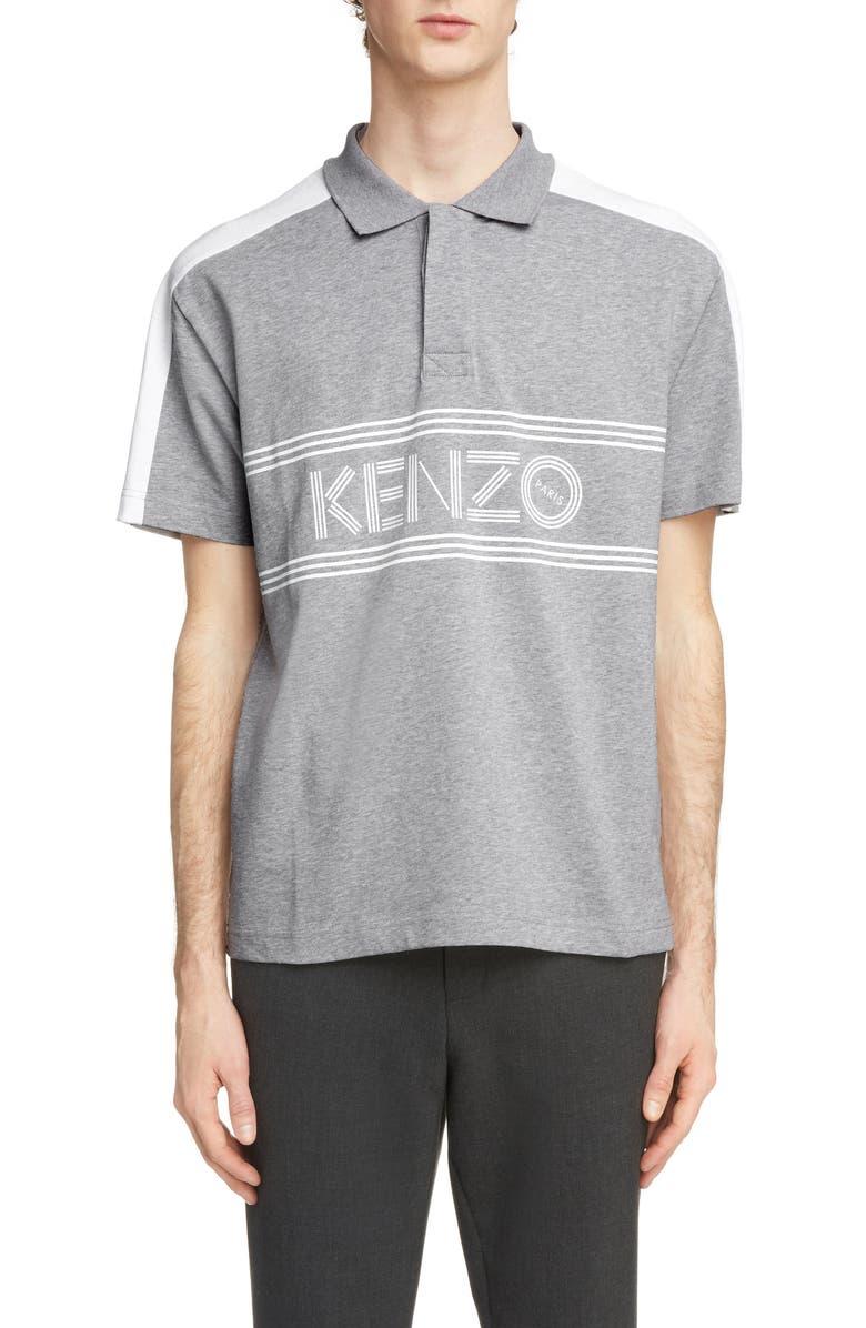 Kenzo Logo Print Cotton Jersey Polo Shirt In White Modesens