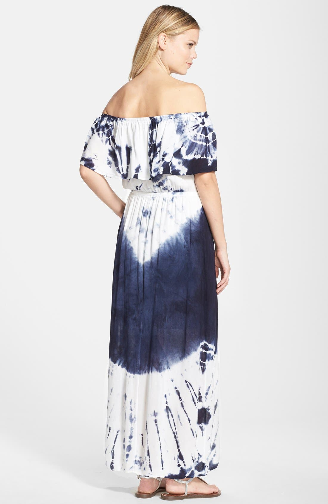 Tie Dye Off Shoulder Maxi Dress,                             Alternate thumbnail 9, color,