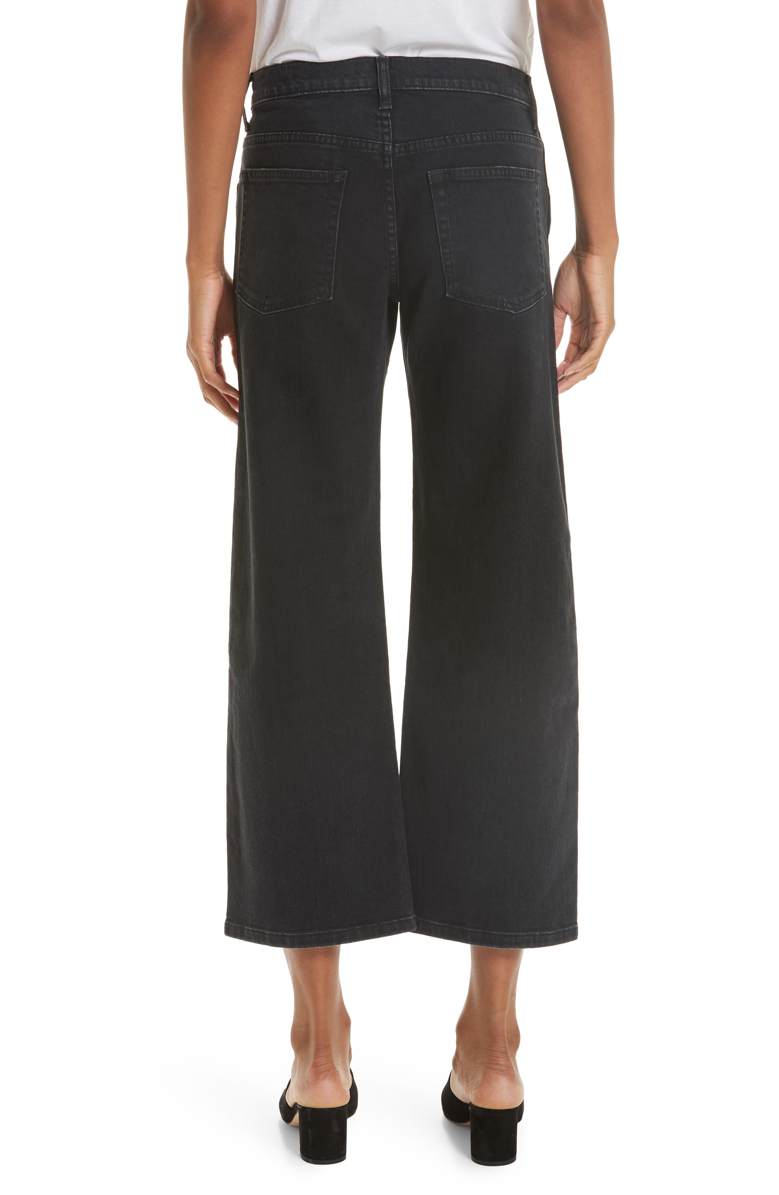 KHAITE,                             Wendell Wide Leg Crop Jeans,                             Alternate thumbnail 2, color,                             STONED BLACK