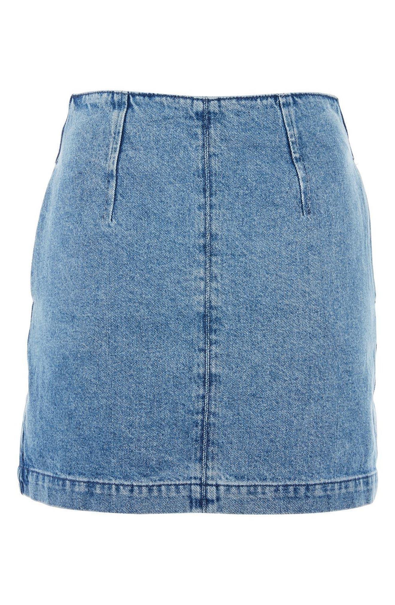 A-Line Denim Miniskirt,                             Alternate thumbnail 3, color,                             400