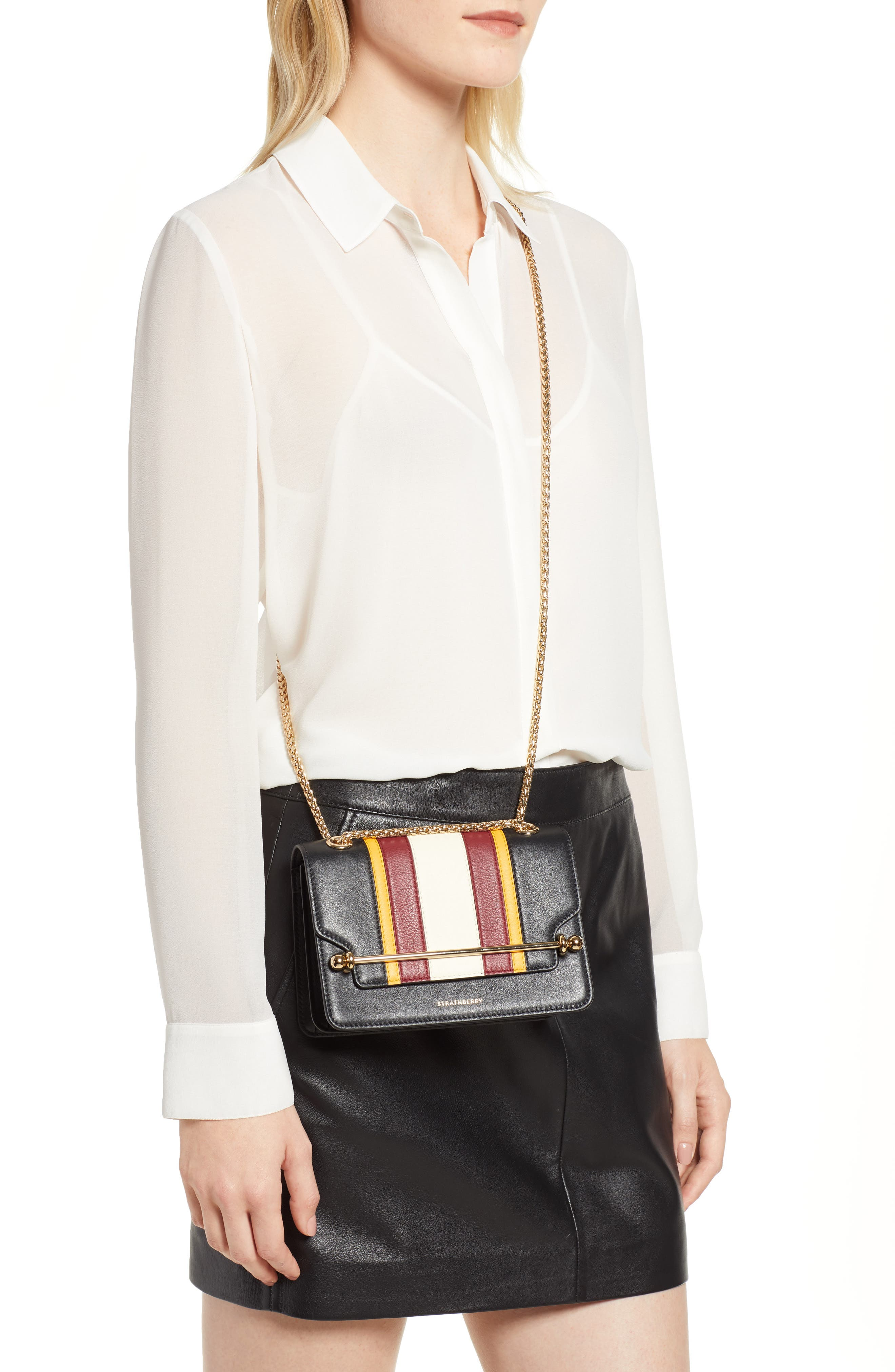 Mini East/West Stripe Leather Crossbody Bag,                             Alternate thumbnail 2, color,                             BLACK