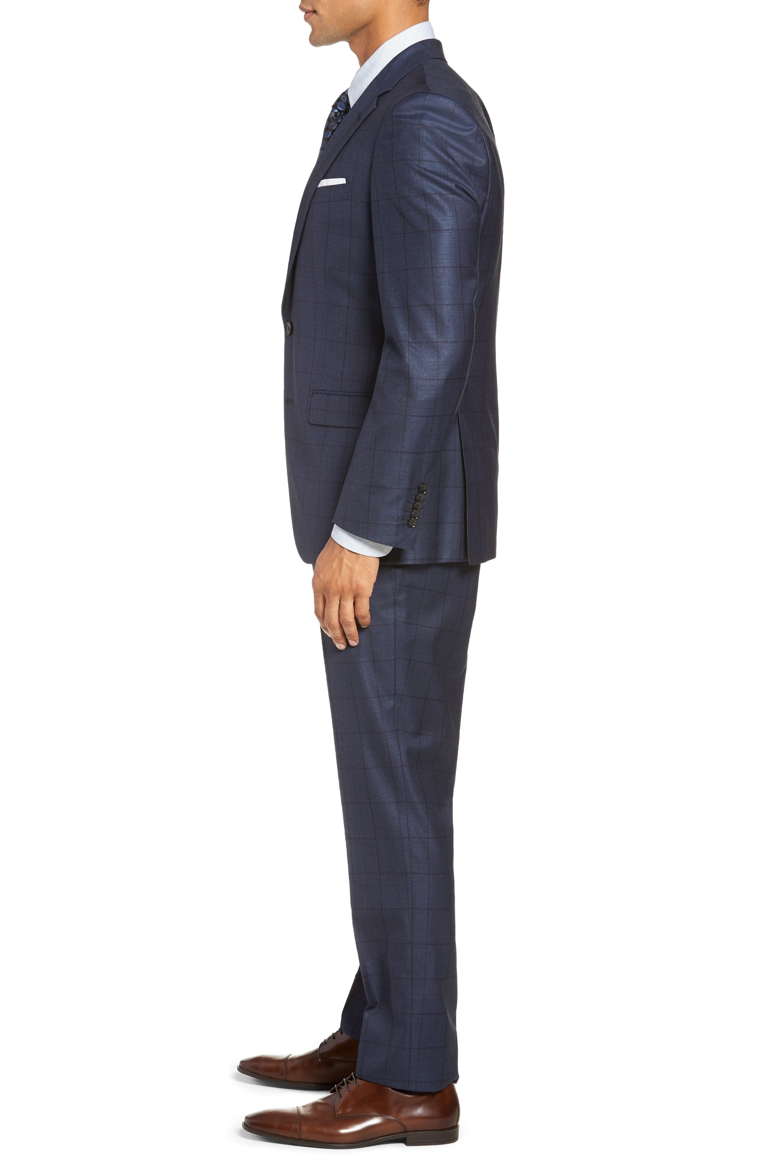 Harvers/Glover Trim Fit Windowpane Wool & Silk Suit,                             Alternate thumbnail 3, color,                             OPEN BLUE