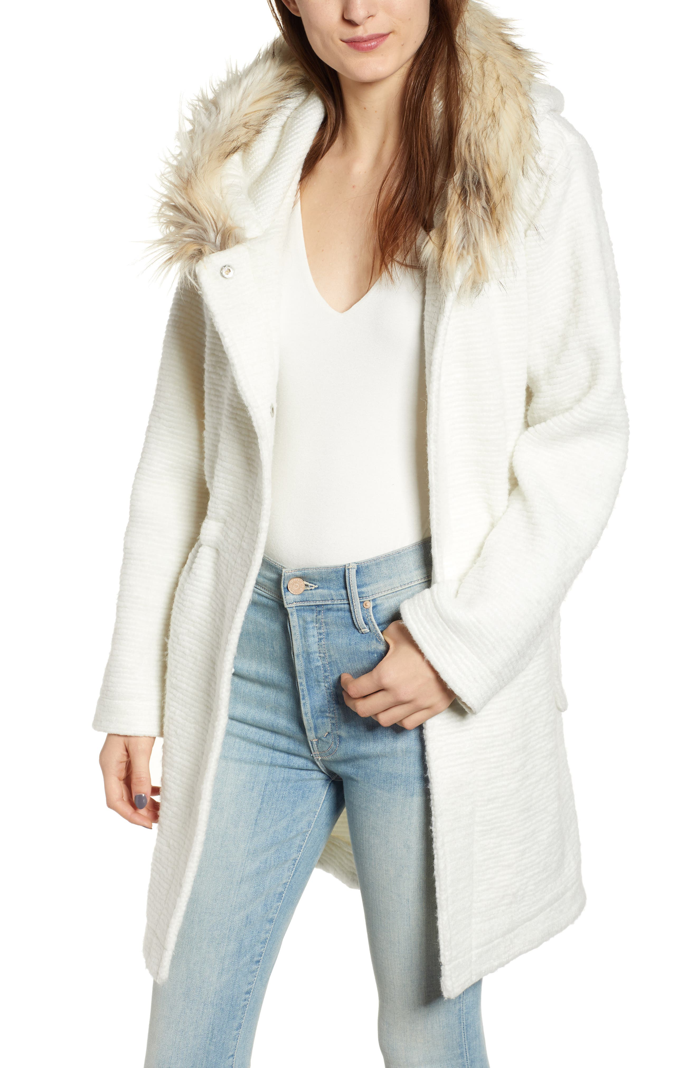 Coat On Ribbed Coat with Faux Fur Trim, Main, color, IVORY