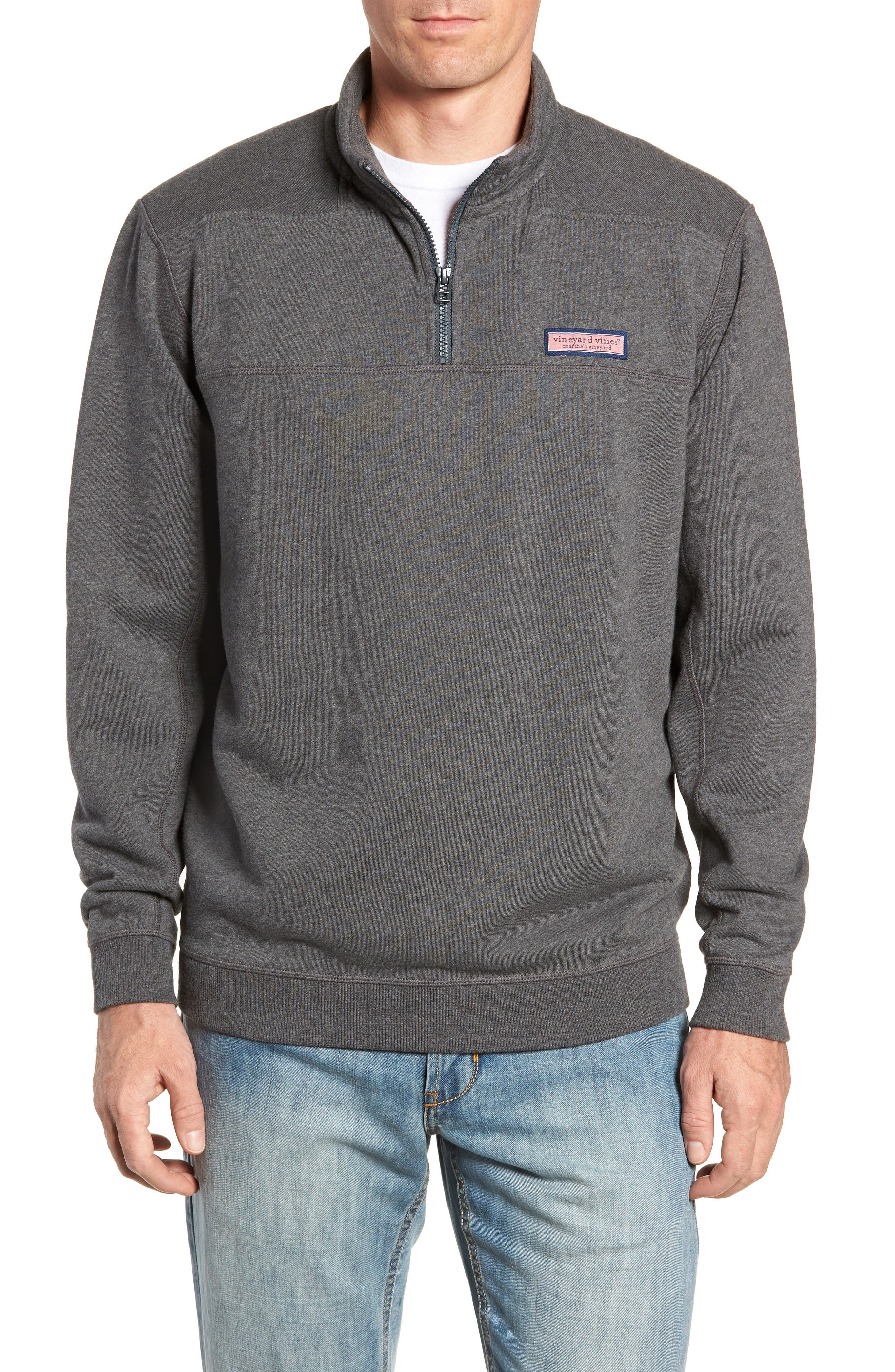 Quarter Zip Fleece Pullover,                             Main thumbnail 1, color,                             PEBBLE