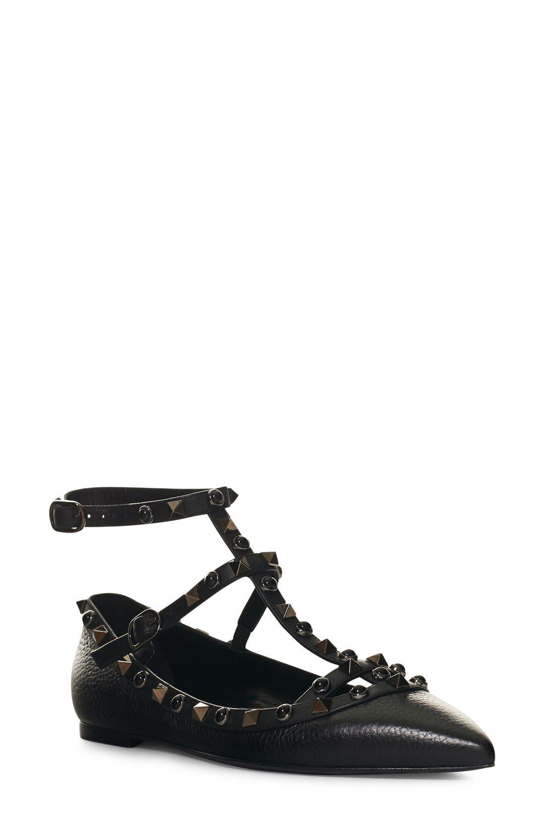 'Rockstud Rolling Noir' T-Strap Flat,                         Main,                         color, BLACK LEATHER