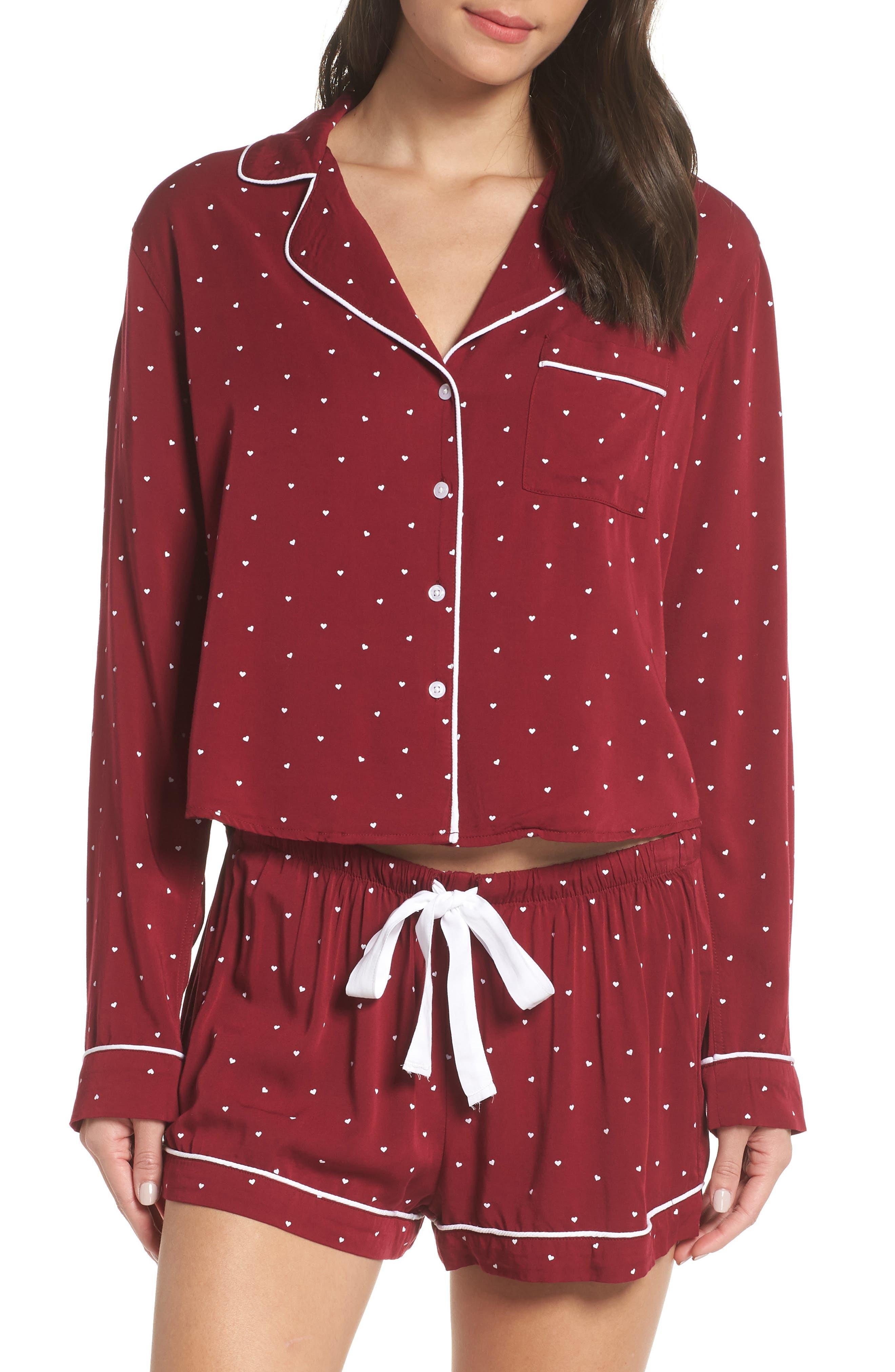 Short Pajamas,                             Main thumbnail 1, color,                             WHITE RED MINI HEARTS