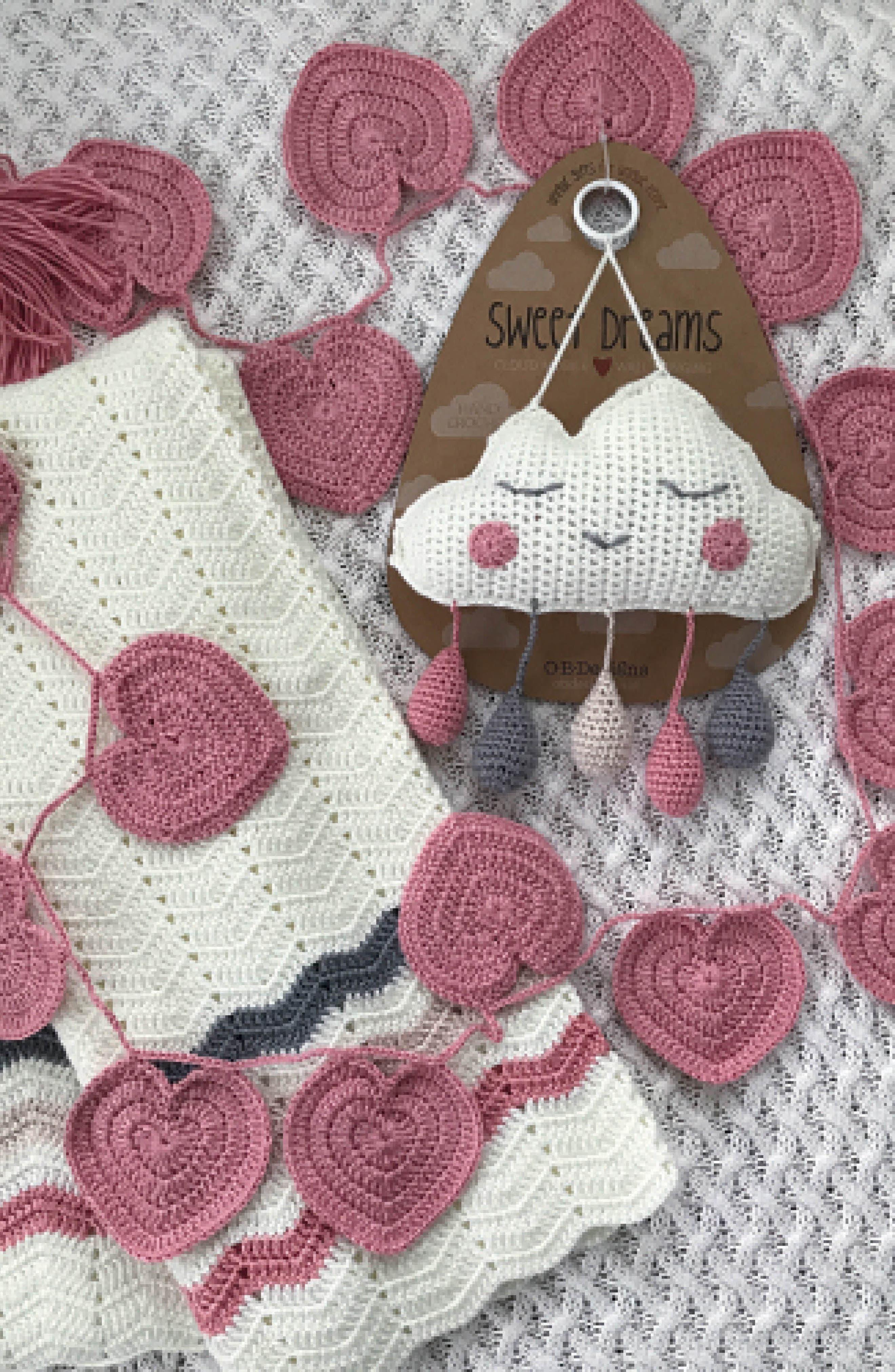 Ripple Crocheted Blanket,                             Alternate thumbnail 6, color,                             PINK