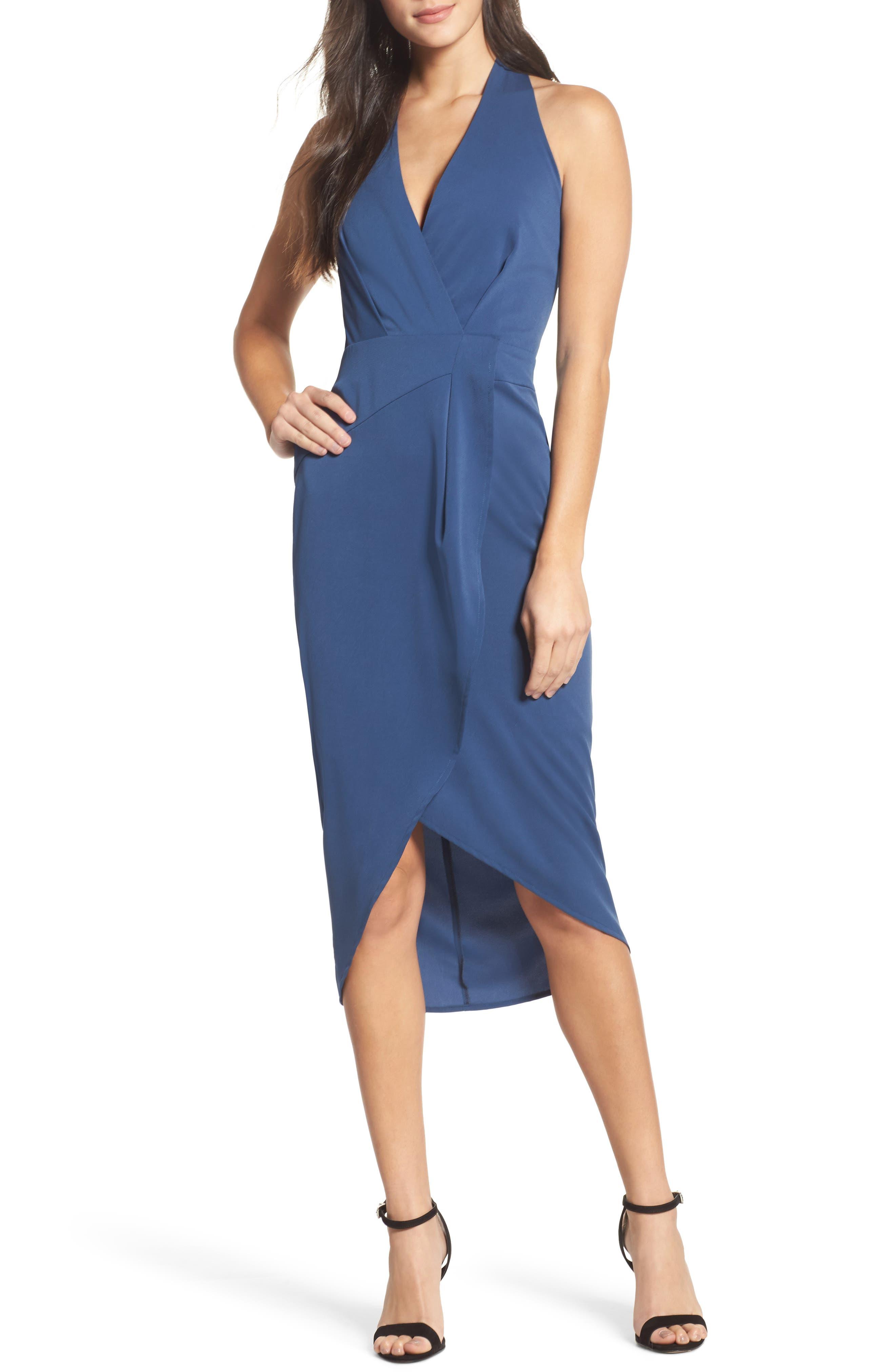 Claudia Drape Midi Dress,                             Main thumbnail 2, color,