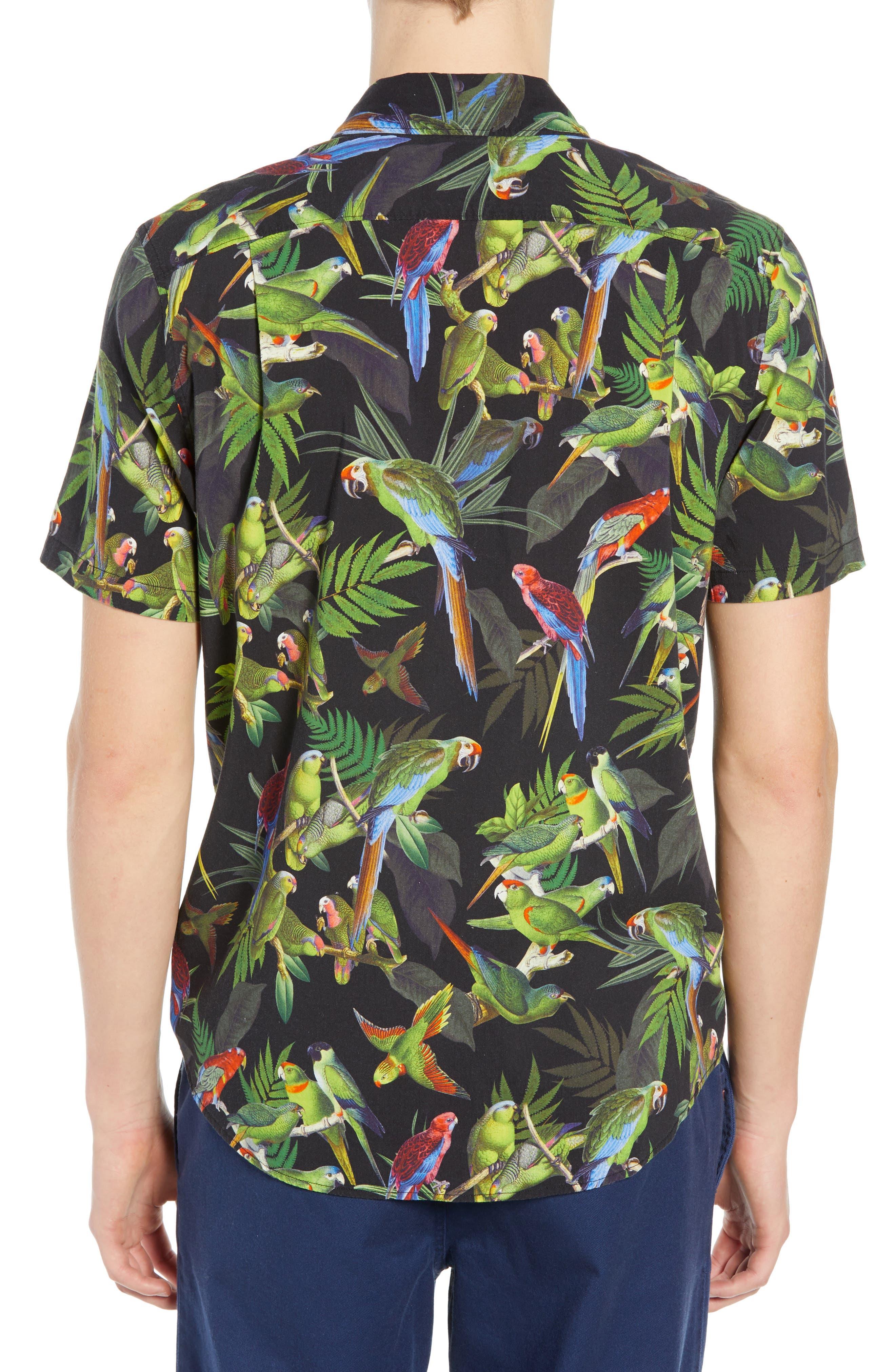 Squawker Woven Shirt,                             Alternate thumbnail 3, color,                             BLACK