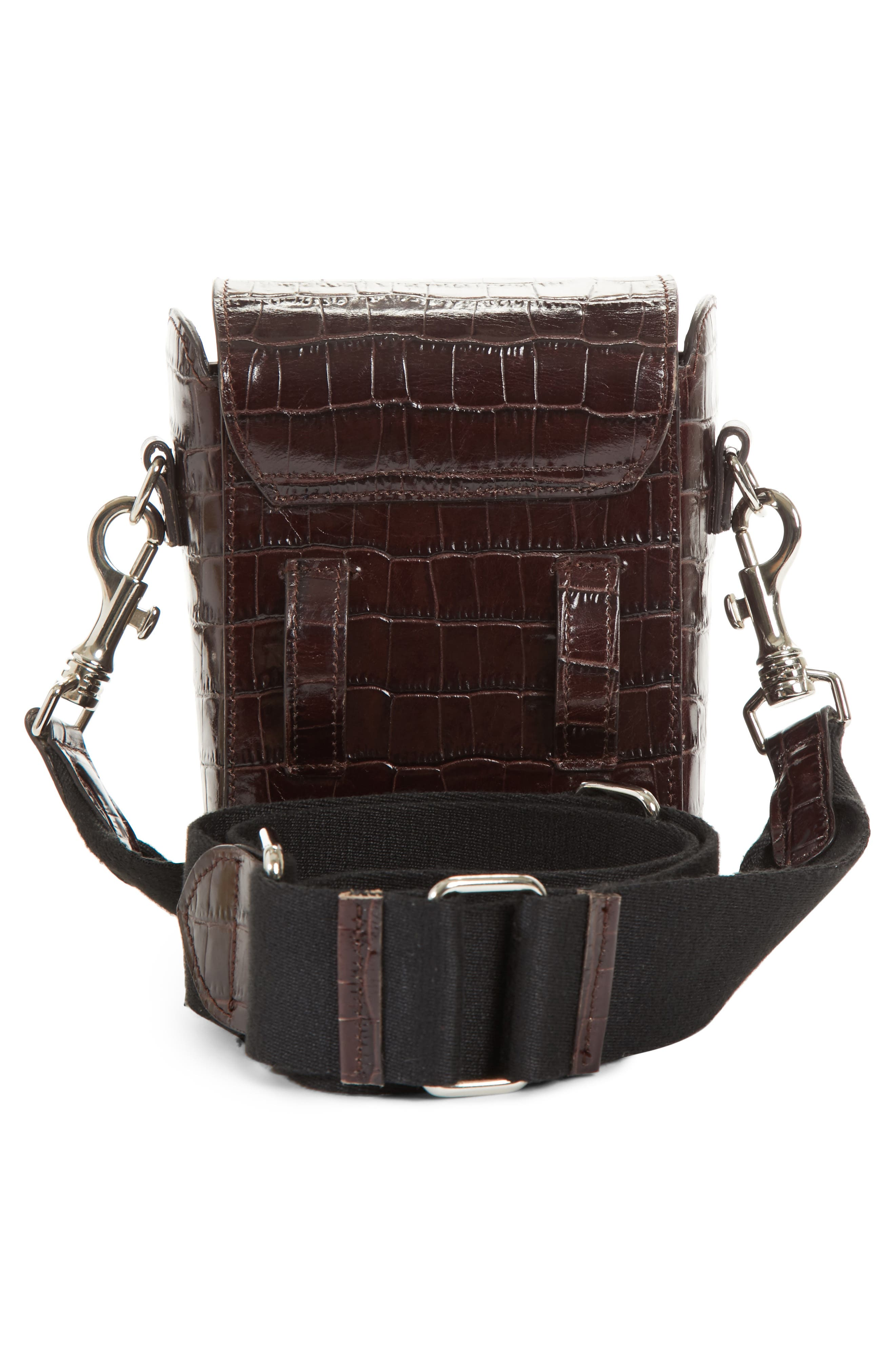 Small Croc Embossed Leather Camera Bag,                             Alternate thumbnail 3, color,                             200