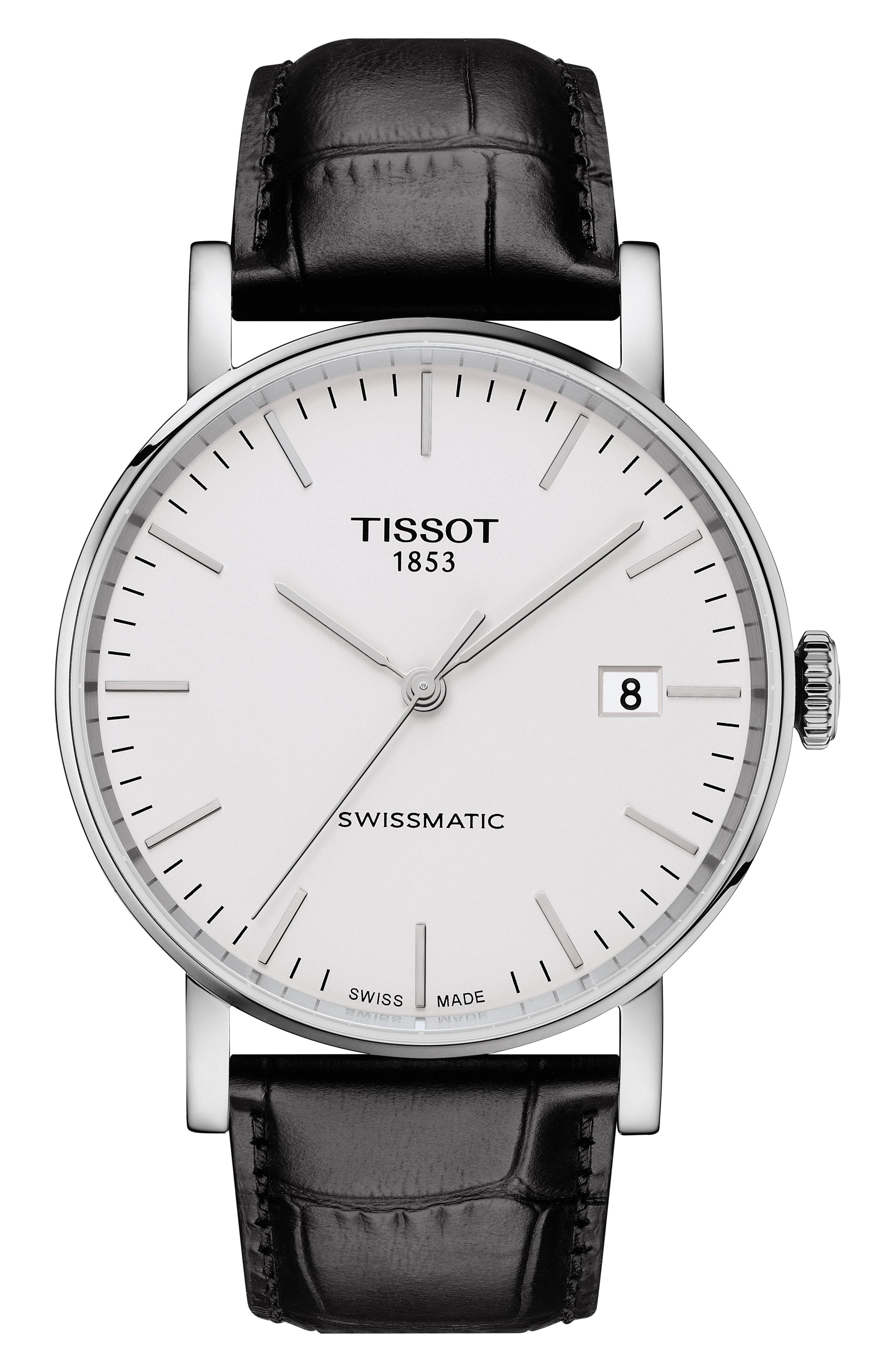 Everytime Swissmatic Leather Strap Watch, 40mm,                         Main,                         color, BLACK/ SILVER
