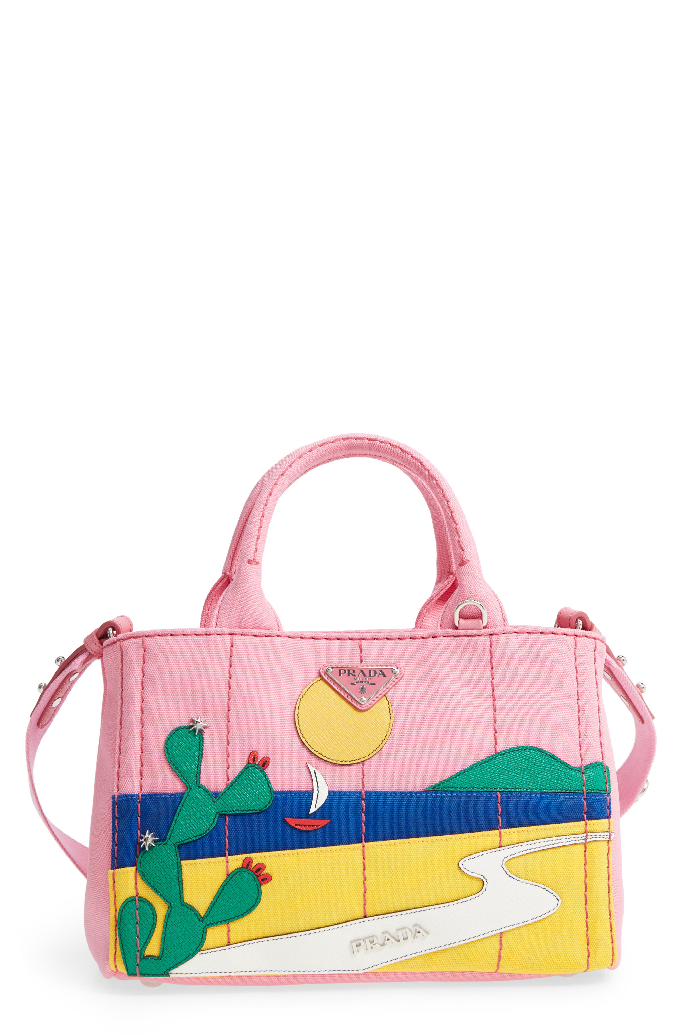 Desert Motif Patch Leather & Canvas Tote,                         Main,                         color, PINK