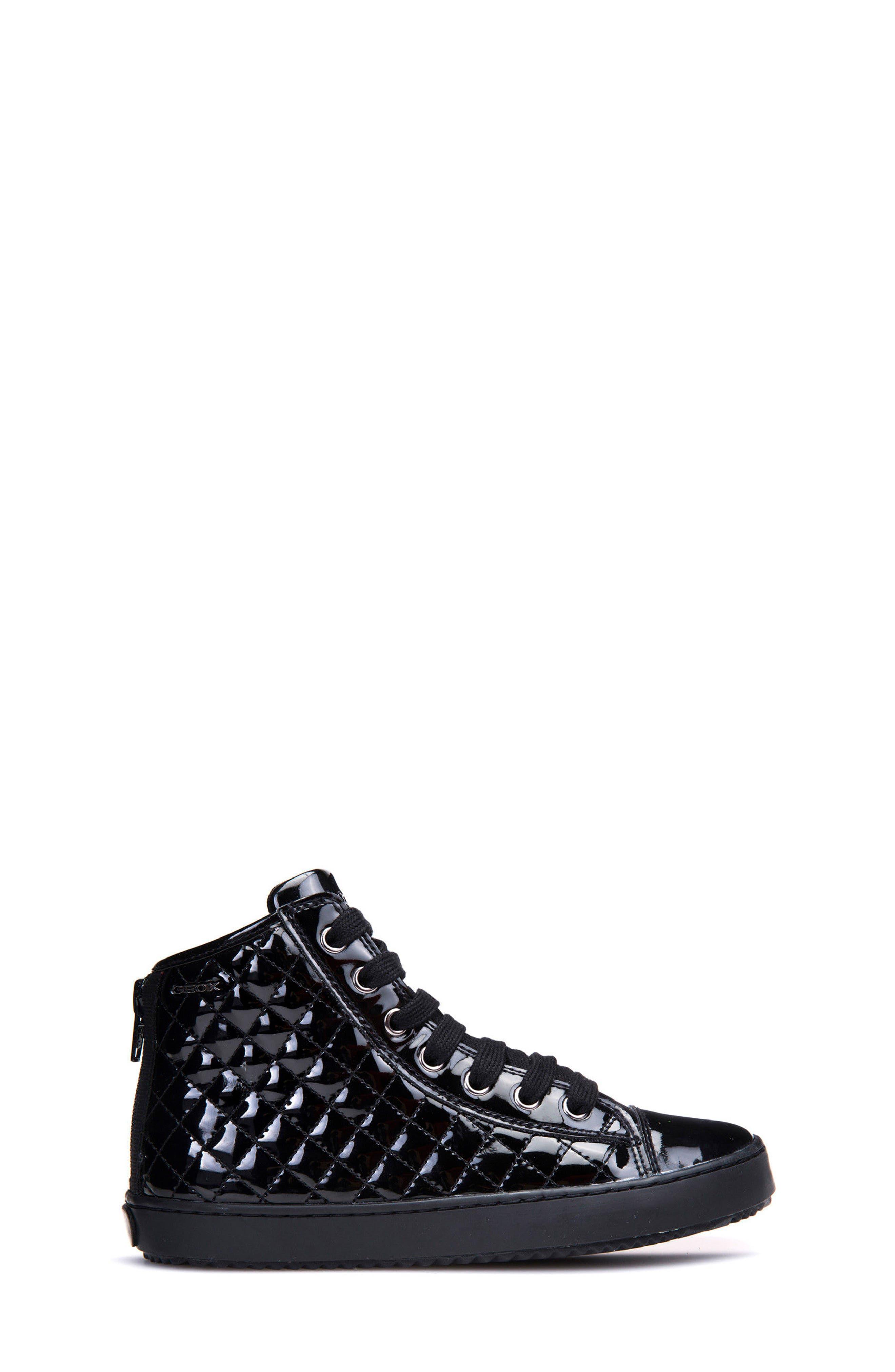 Kalispera Girl Quilted High-Top Sneaker,                             Alternate thumbnail 3, color,                             BLACK
