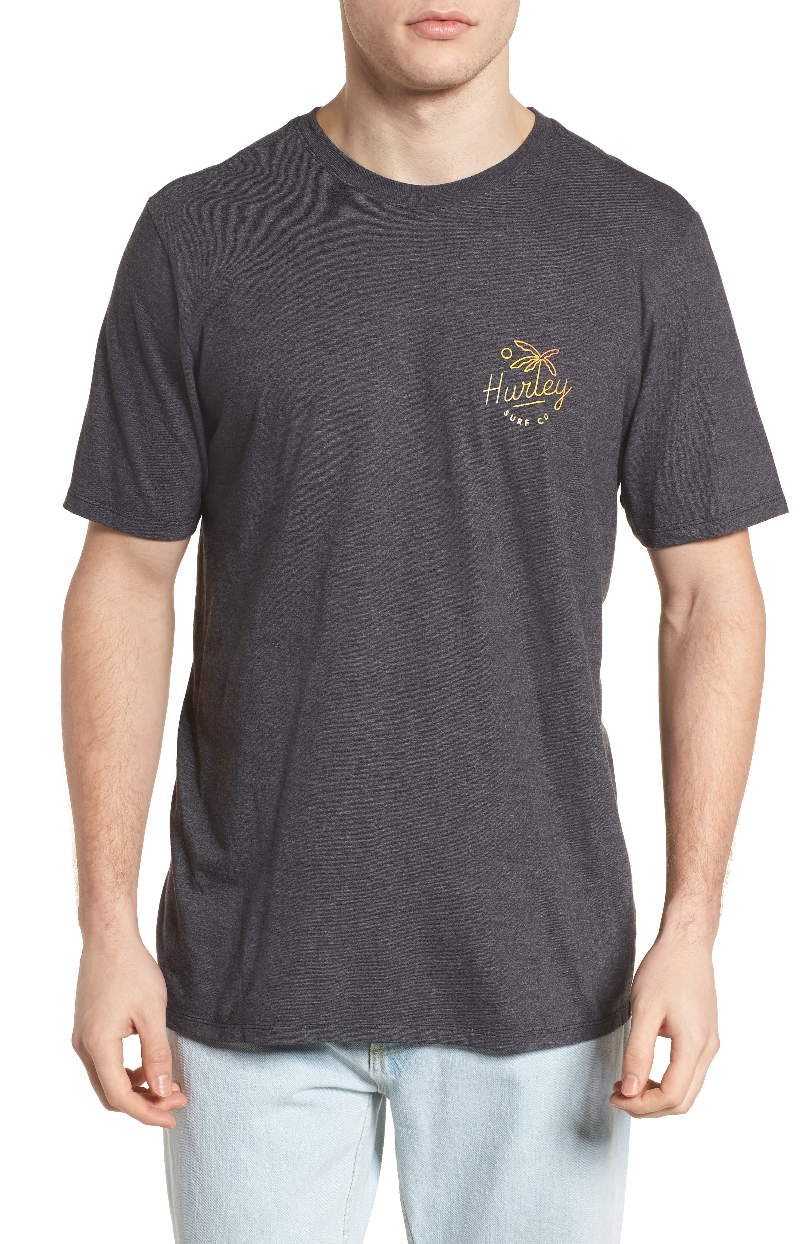 Paradise Script T-Shirt,                         Main,                         color, BLACK HEATHER