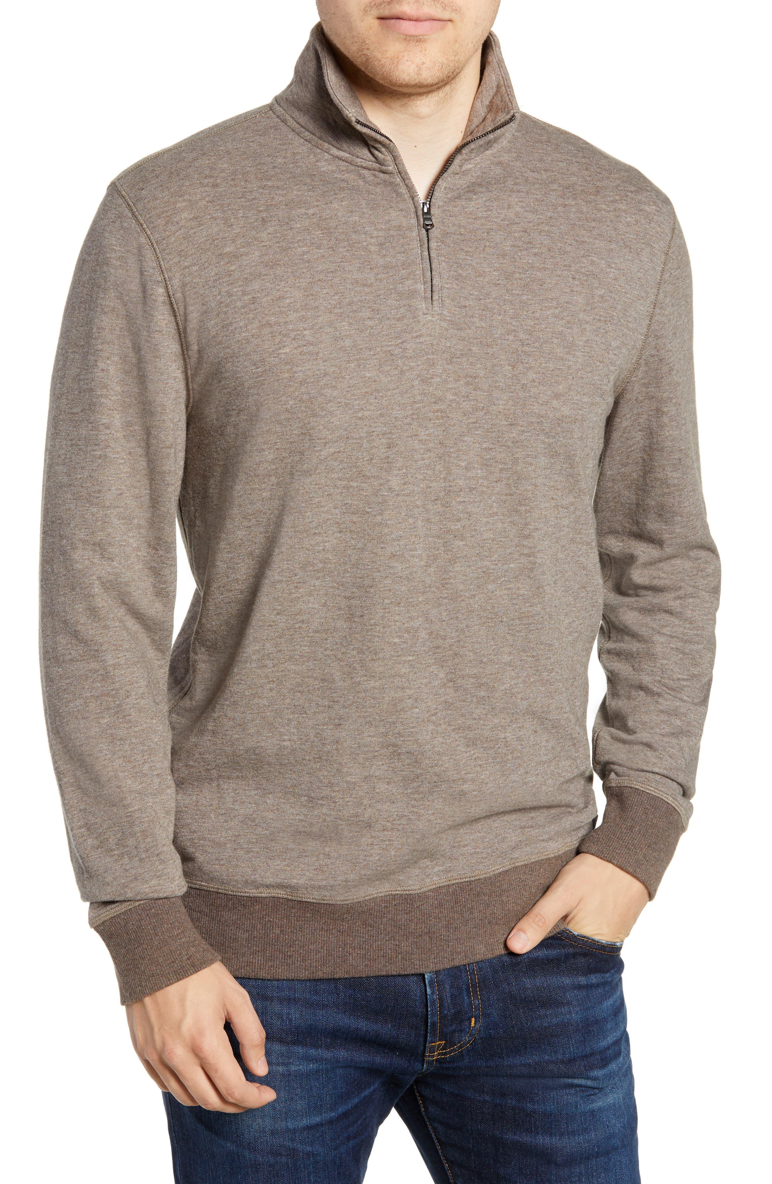 Dual Knit Regular Fit Quarter Zip Pullover, Main, color, CHESTNUT