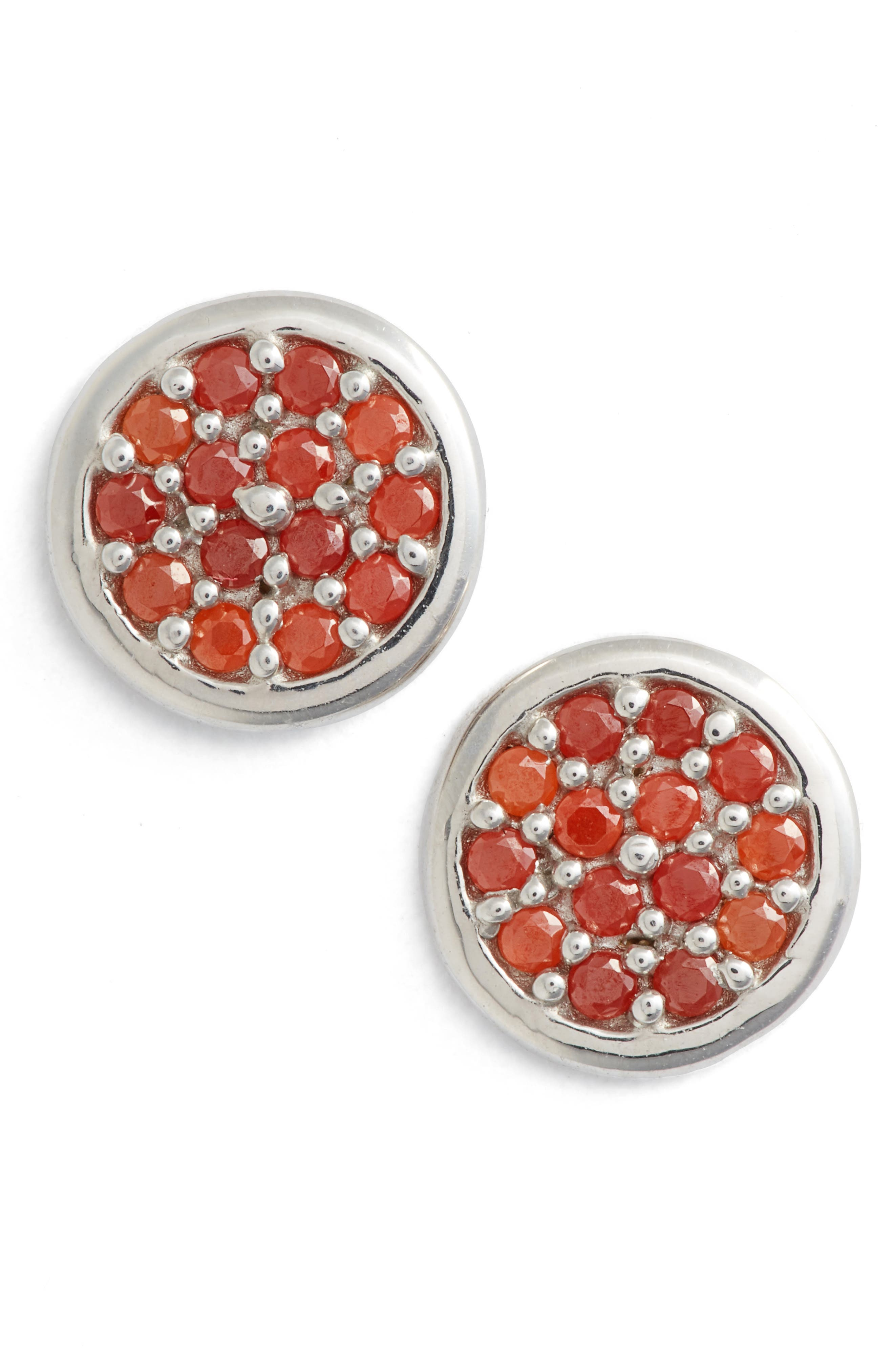 Cubic Zirconia Stud Earrings,                         Main,                         color, CORAL/ SILVER